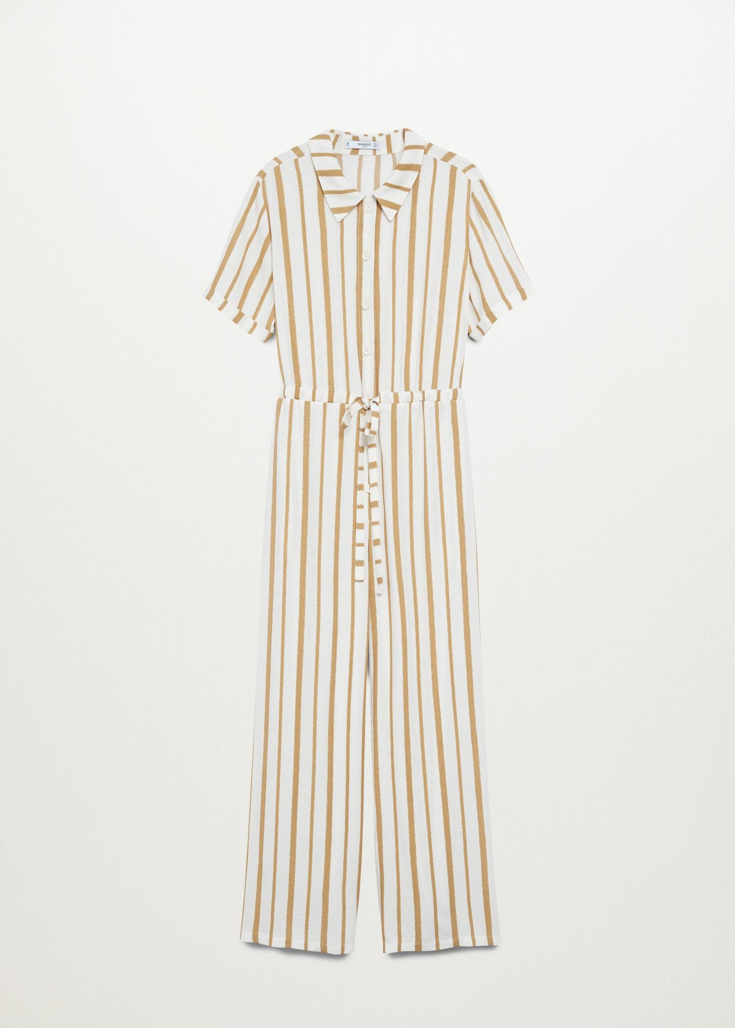 Striped jumpsuit with belt 6