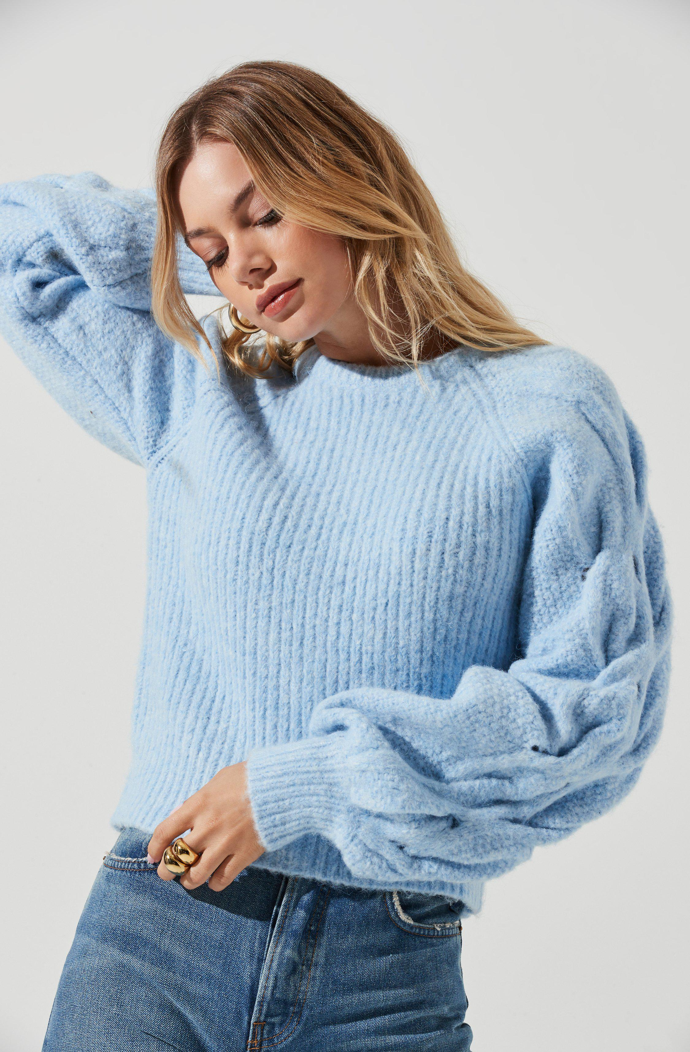 Lizette Cable Knit Statement Sleeve Sweater