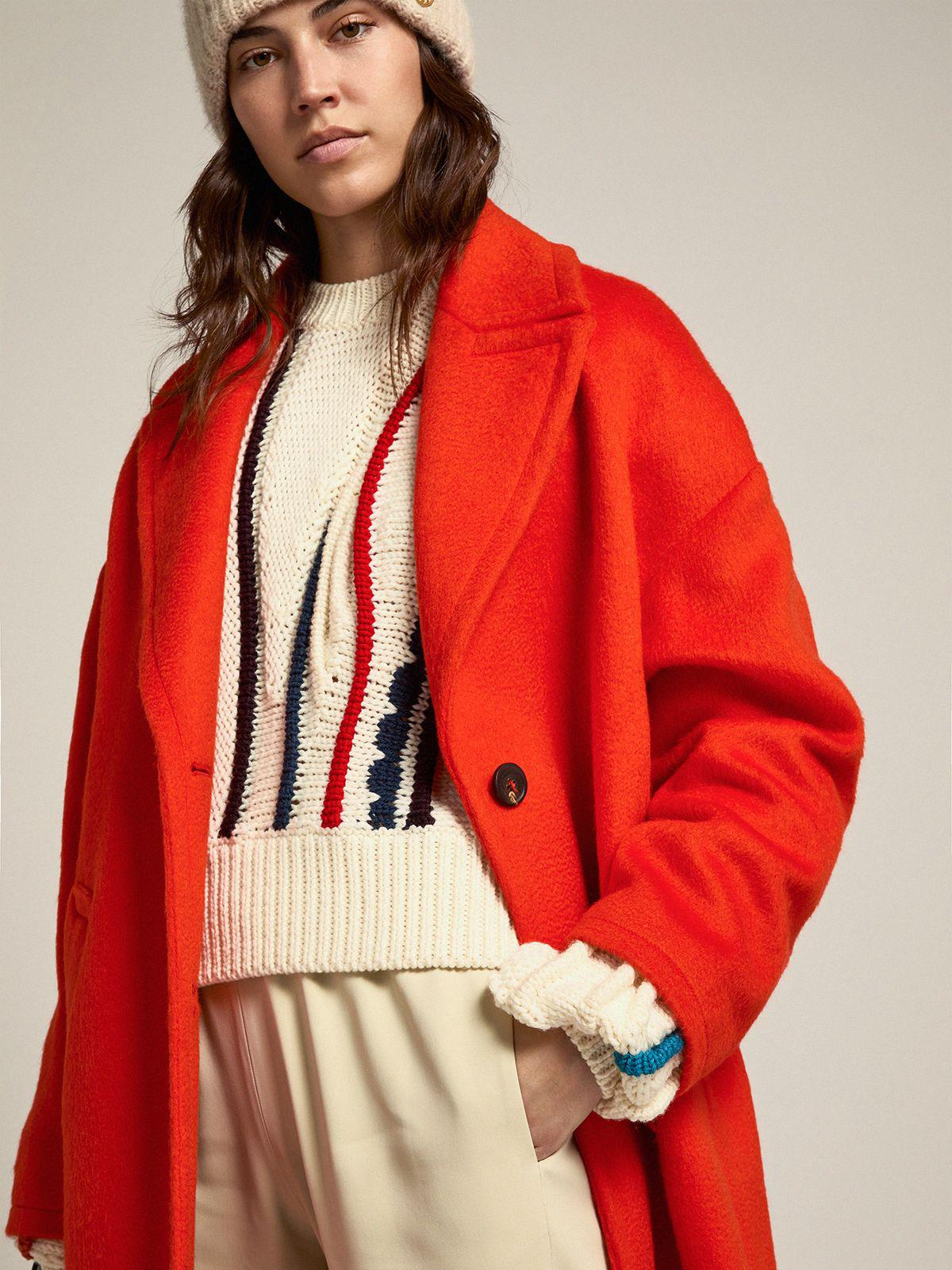 Single-breasted Journey Collection Bertina coat in orange decatized wool fabric