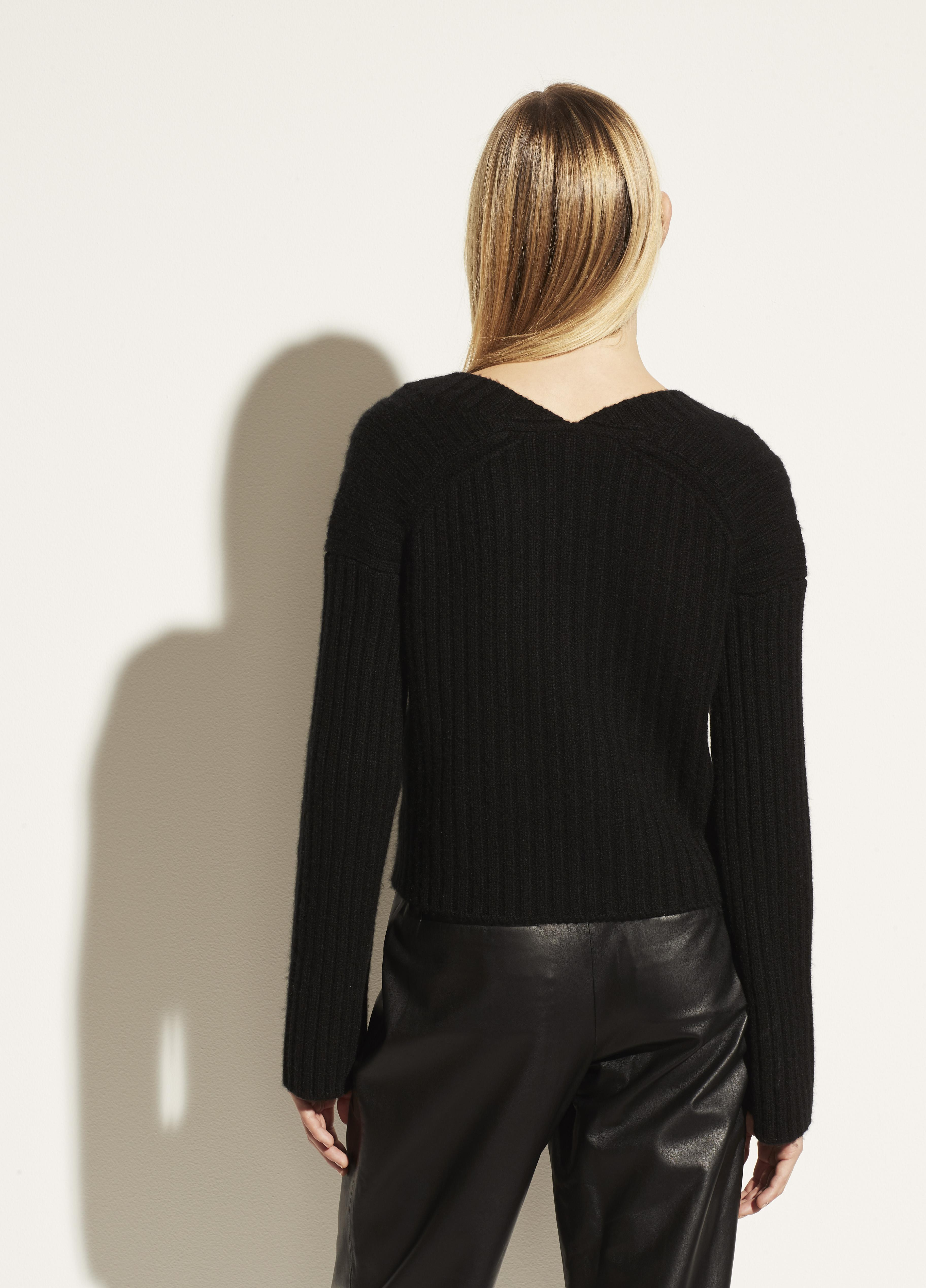 Open Neck Ribbed Cashmere Cardigan 2