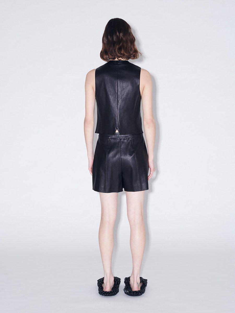Pull On Pintuck Leather Shorts 2