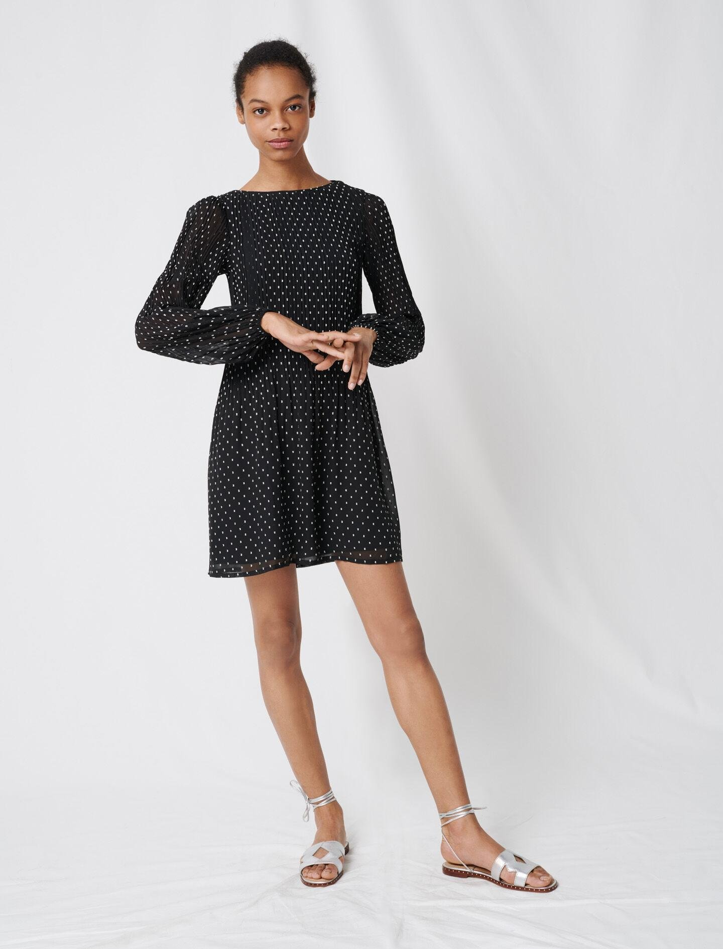 PLEATED AND EMBROIDERED DRESS