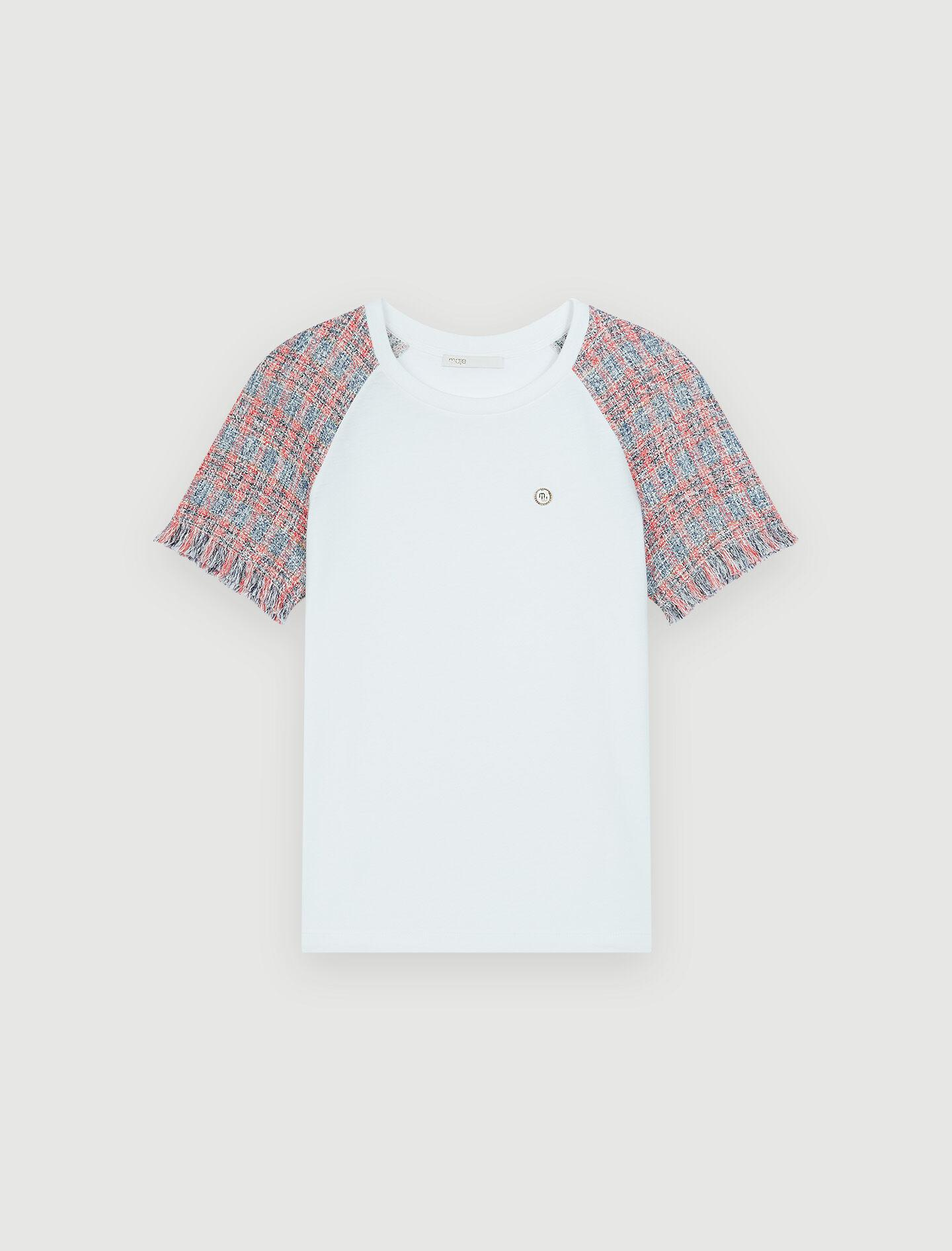 JERSEY T-SHIRT WITH TWEED SLEEVES 4