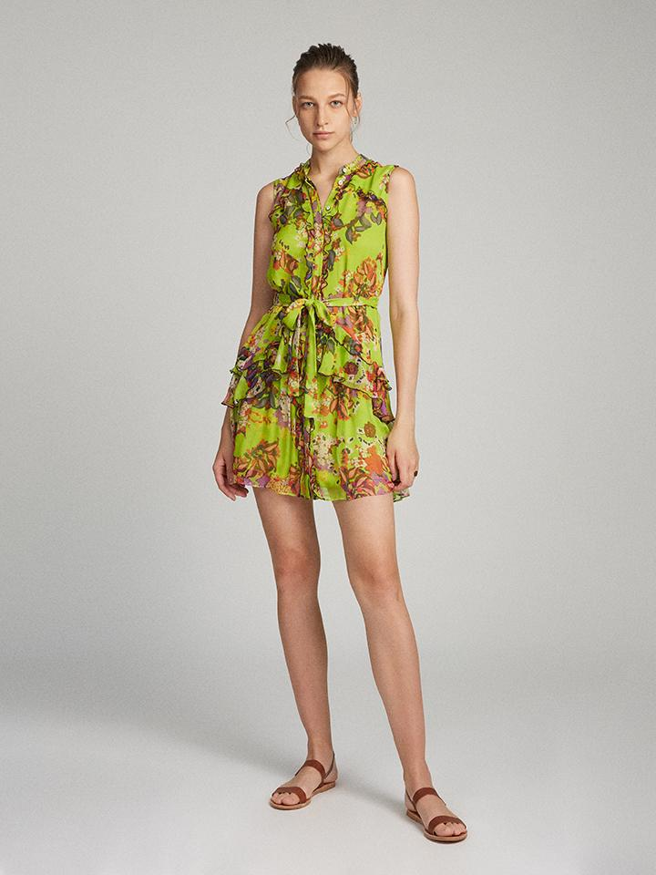 Tilly Ruffle B Dress in Lime Begonia print