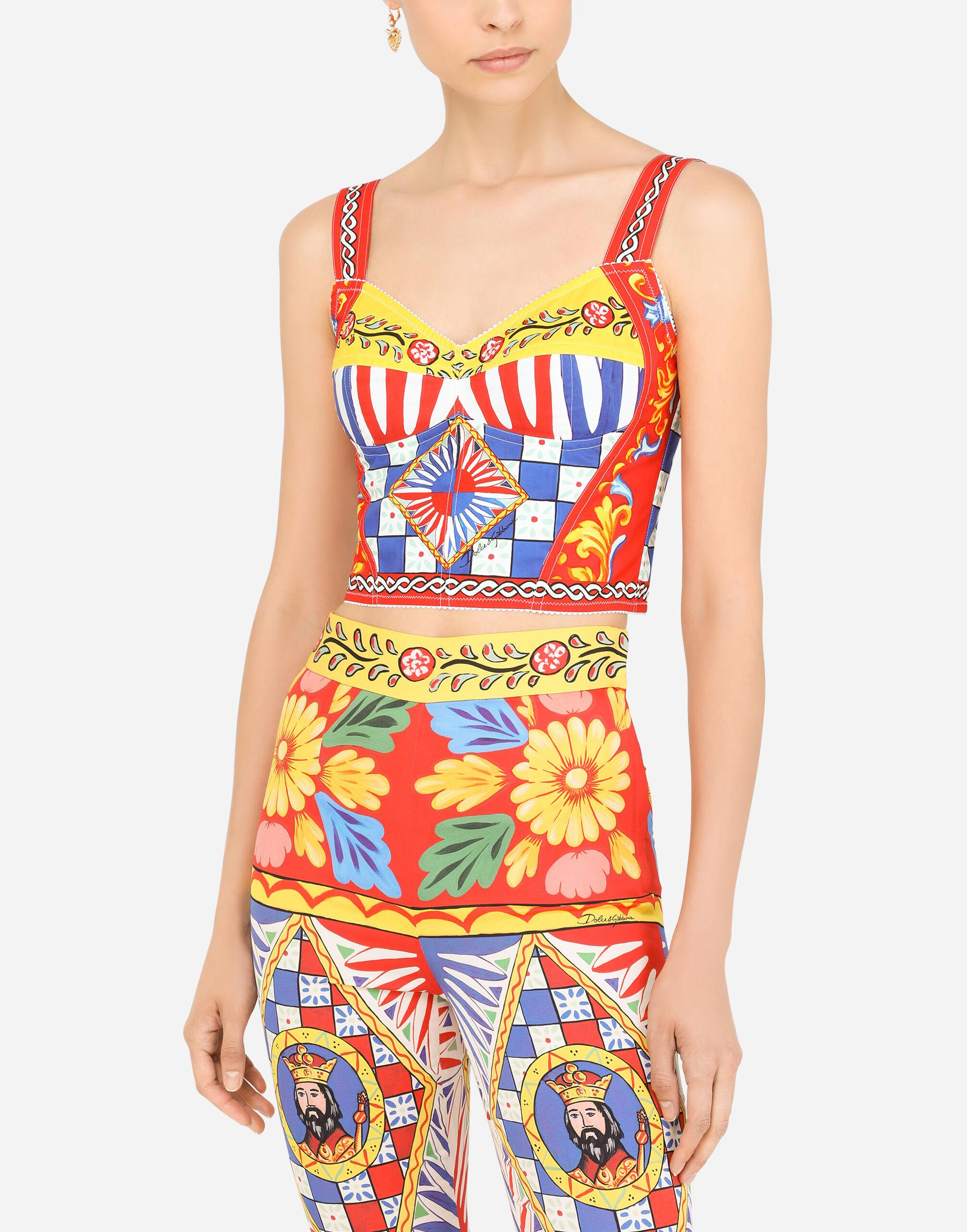Carretto-print charmeuse bustier top 2