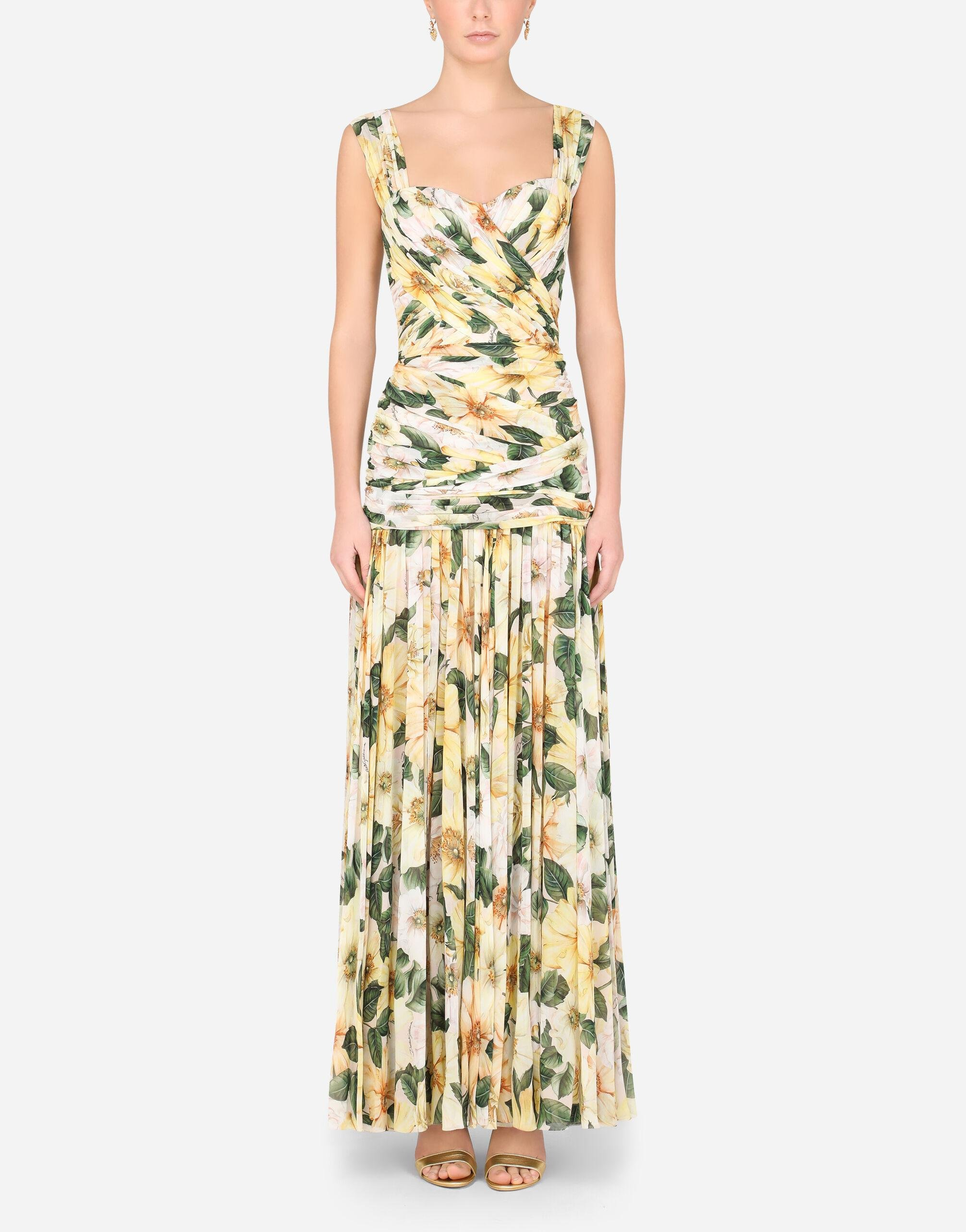 Long camellia-print georgette dress with draping