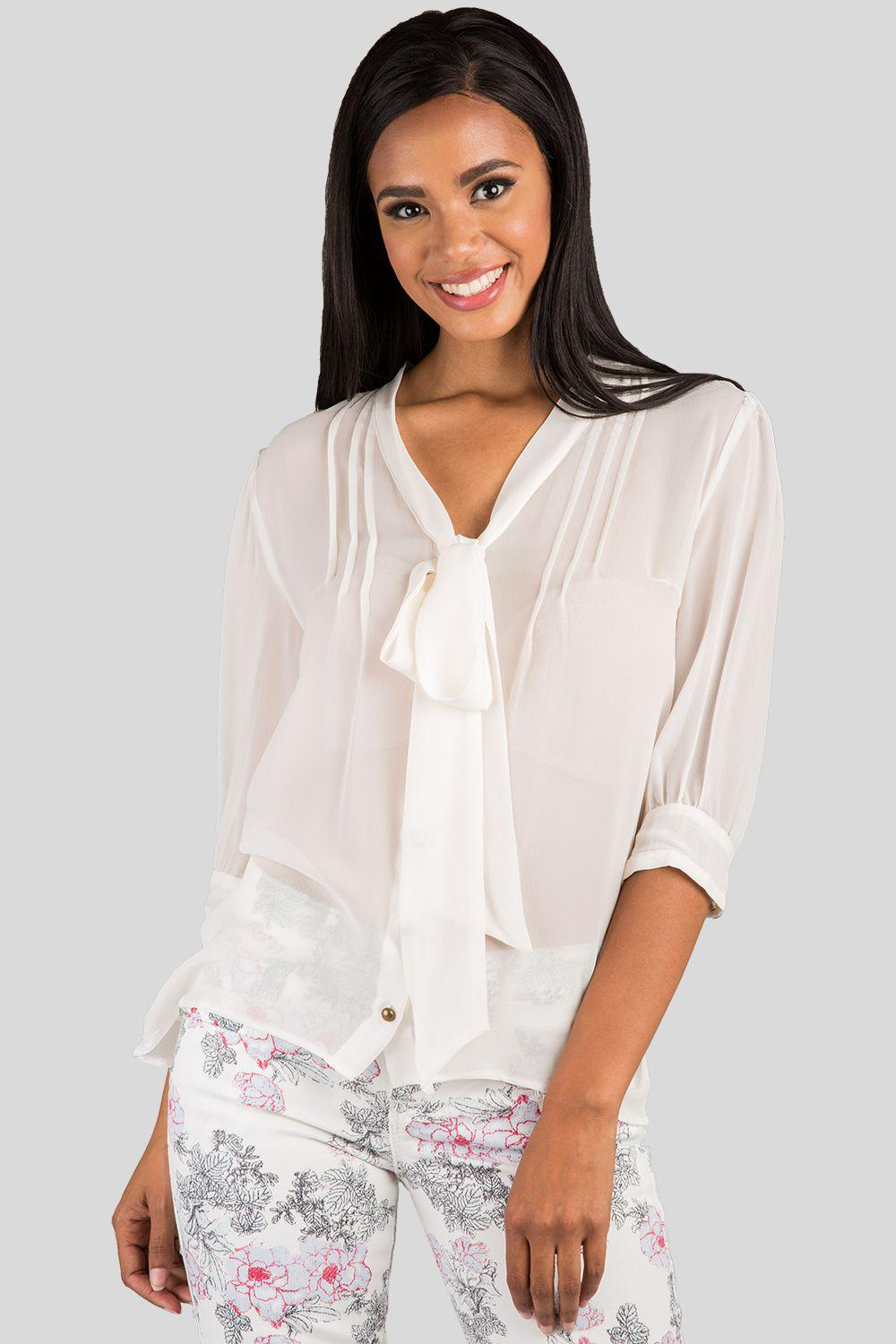 Adele Ivory Sheer Front Tie Neck Silk Blouse
