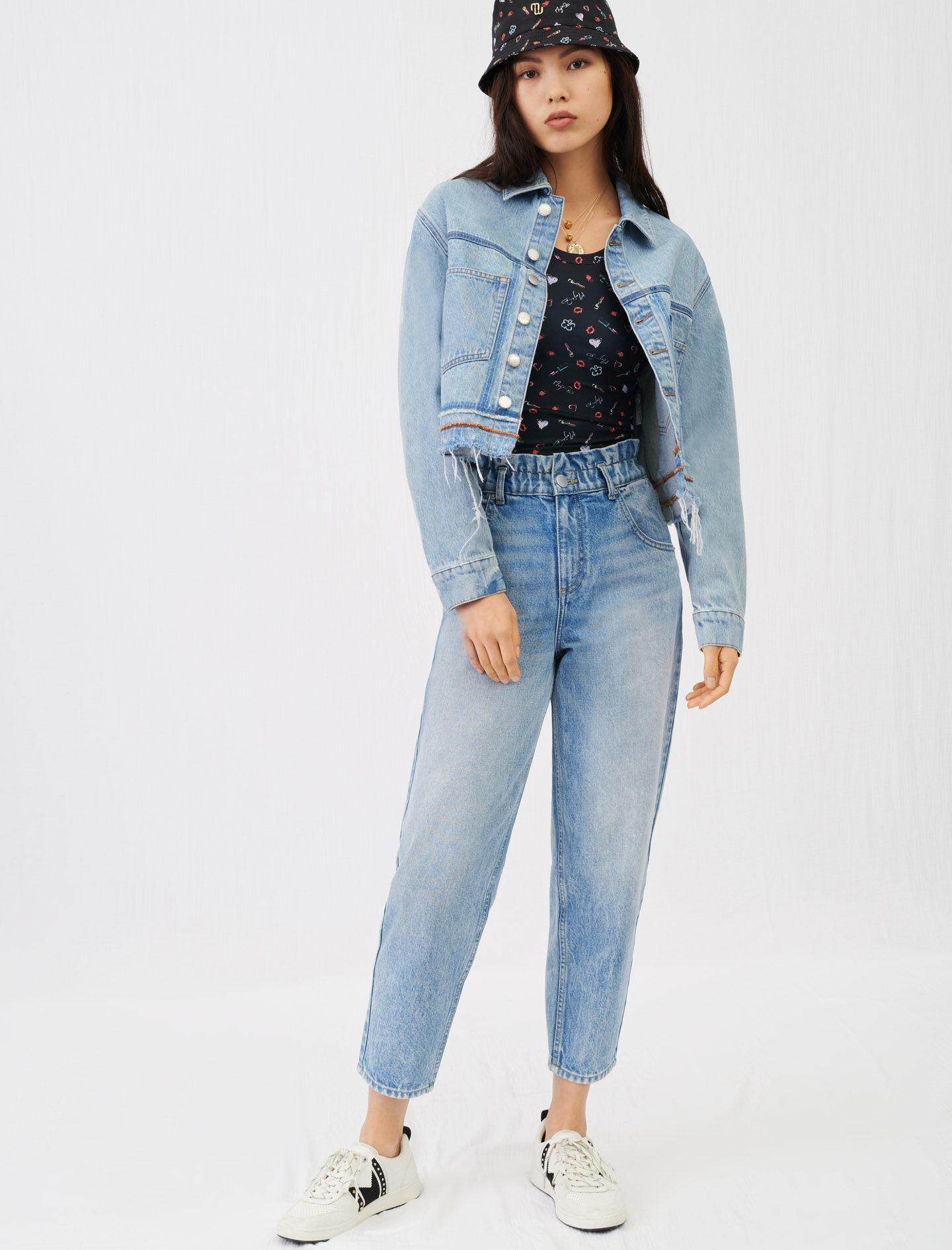 WIDE JEANS WITH ELASTICATED WAISTBAND