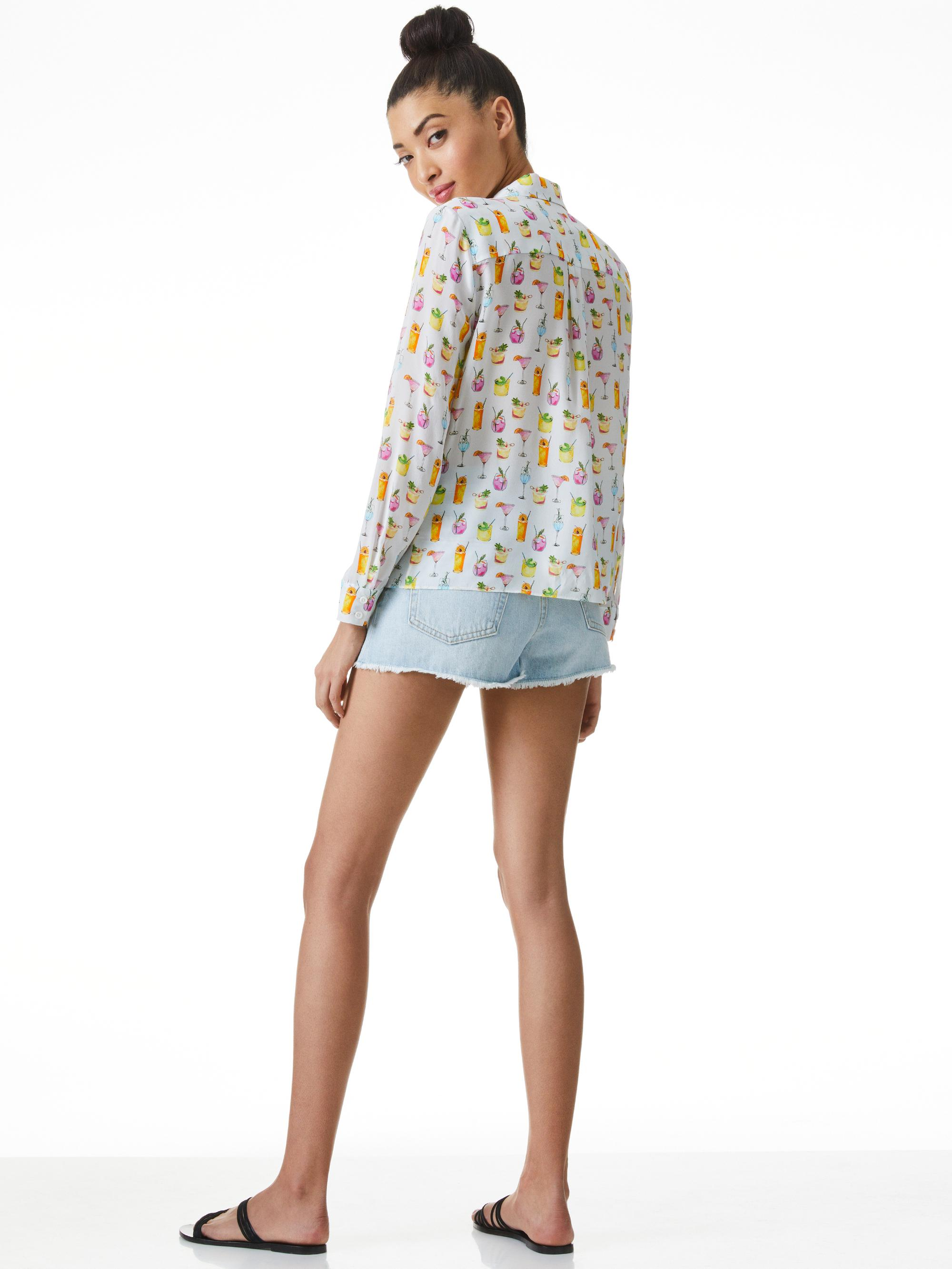 WILLA COCKTAIL PRINT PLACKET TOP 1