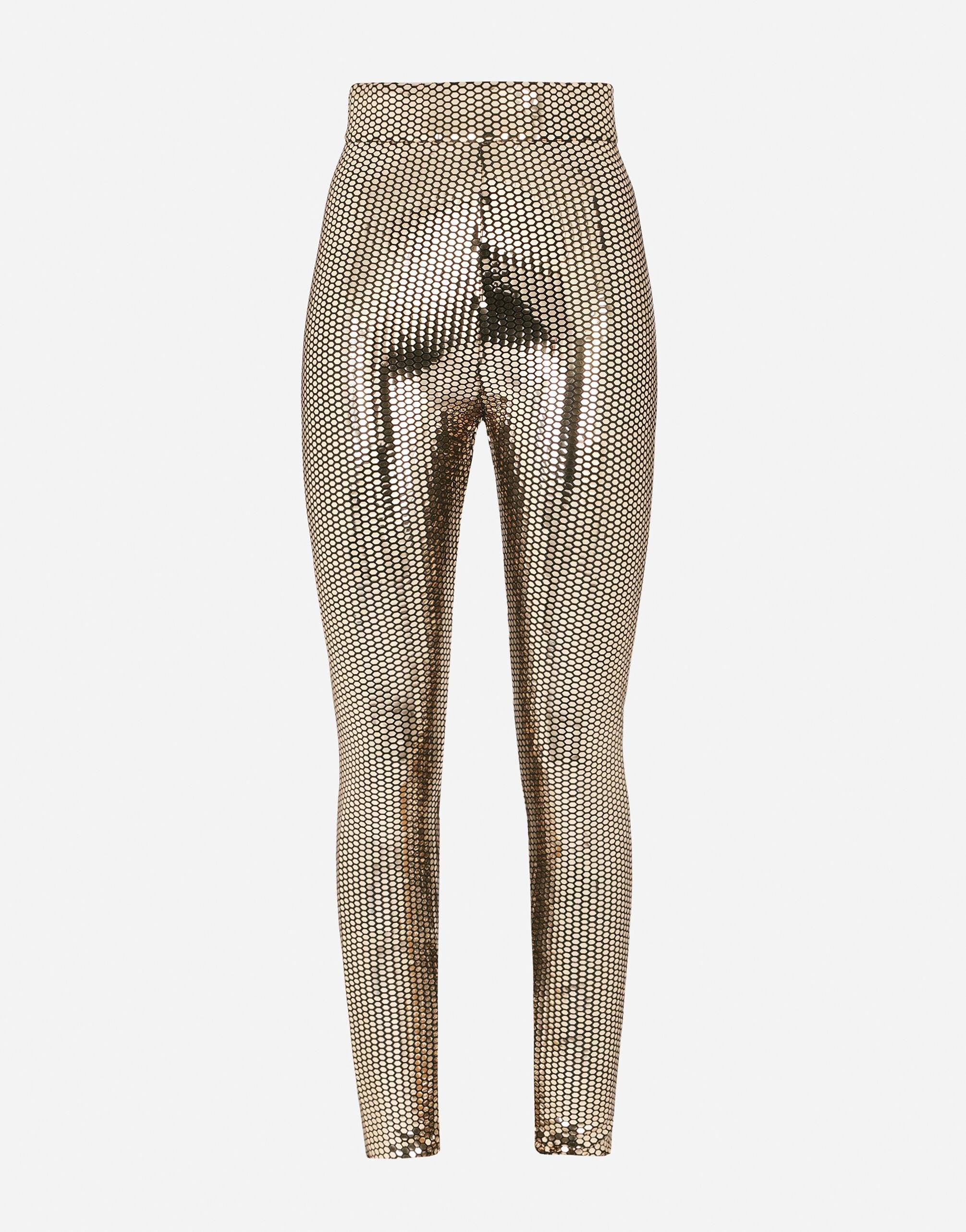 Foiled jersey leggings with draping 3