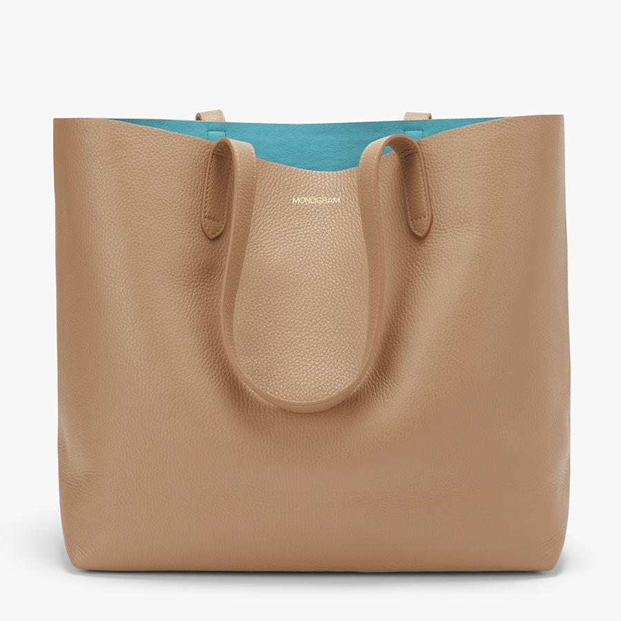 Women's Classic Structured Leather Tote Bag in Cappuccino/Blue | Pebbled Leather by Cuyana 7