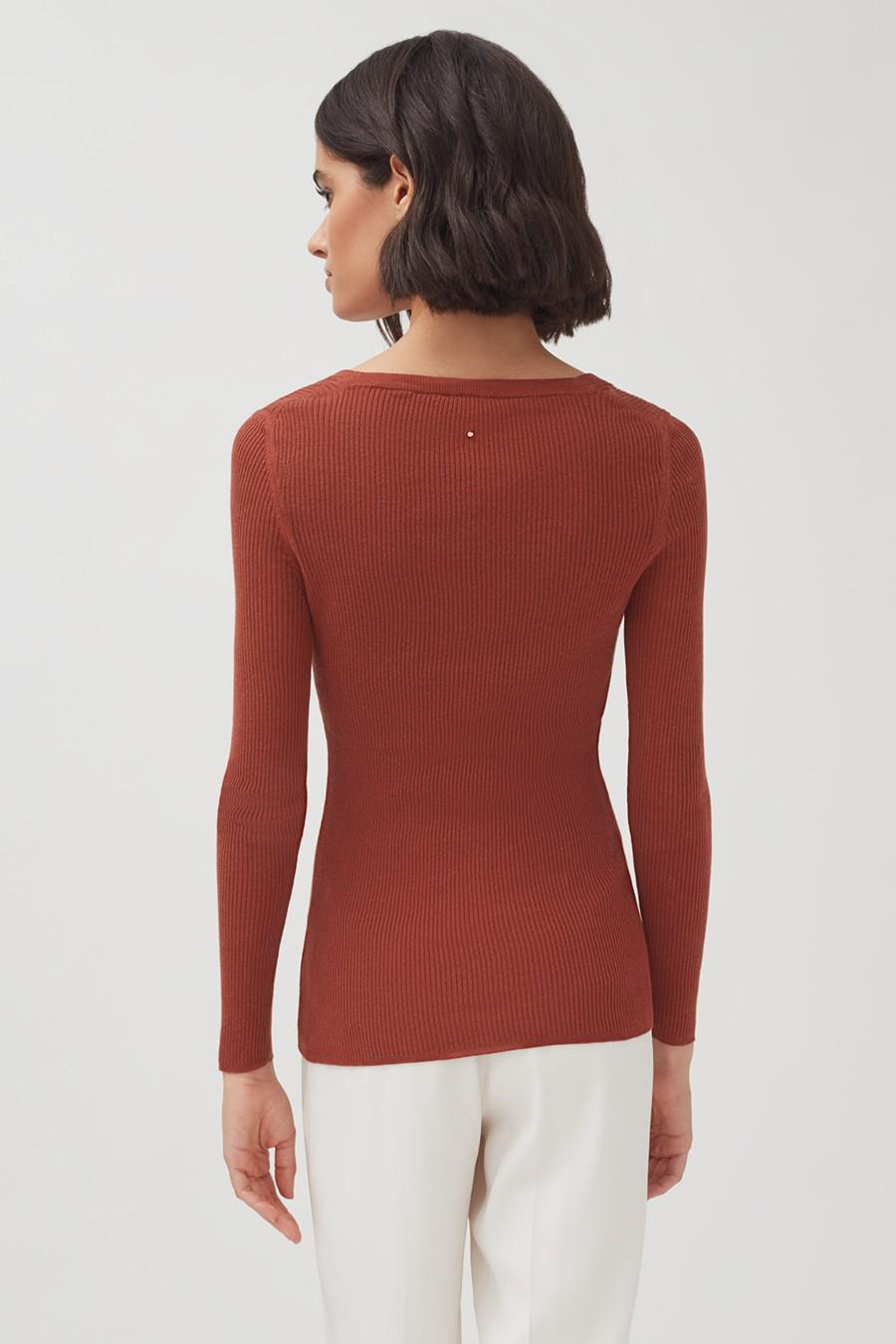 Women's Cotton Cashmere Square Neck Rib Sweater in Terracotta | Size: XL | Cotton Blend by Cuyana 2