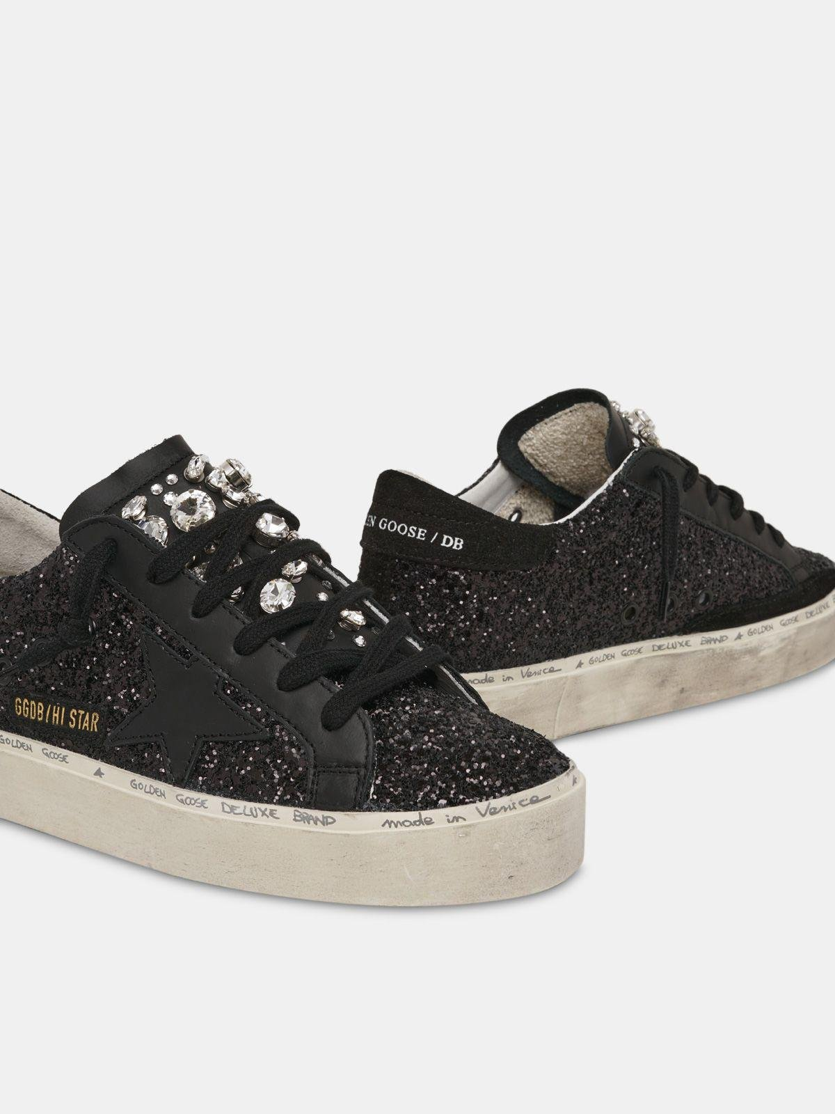 Limited Edition Hi Star sneakers with black glitter and crystals on the tongue 3