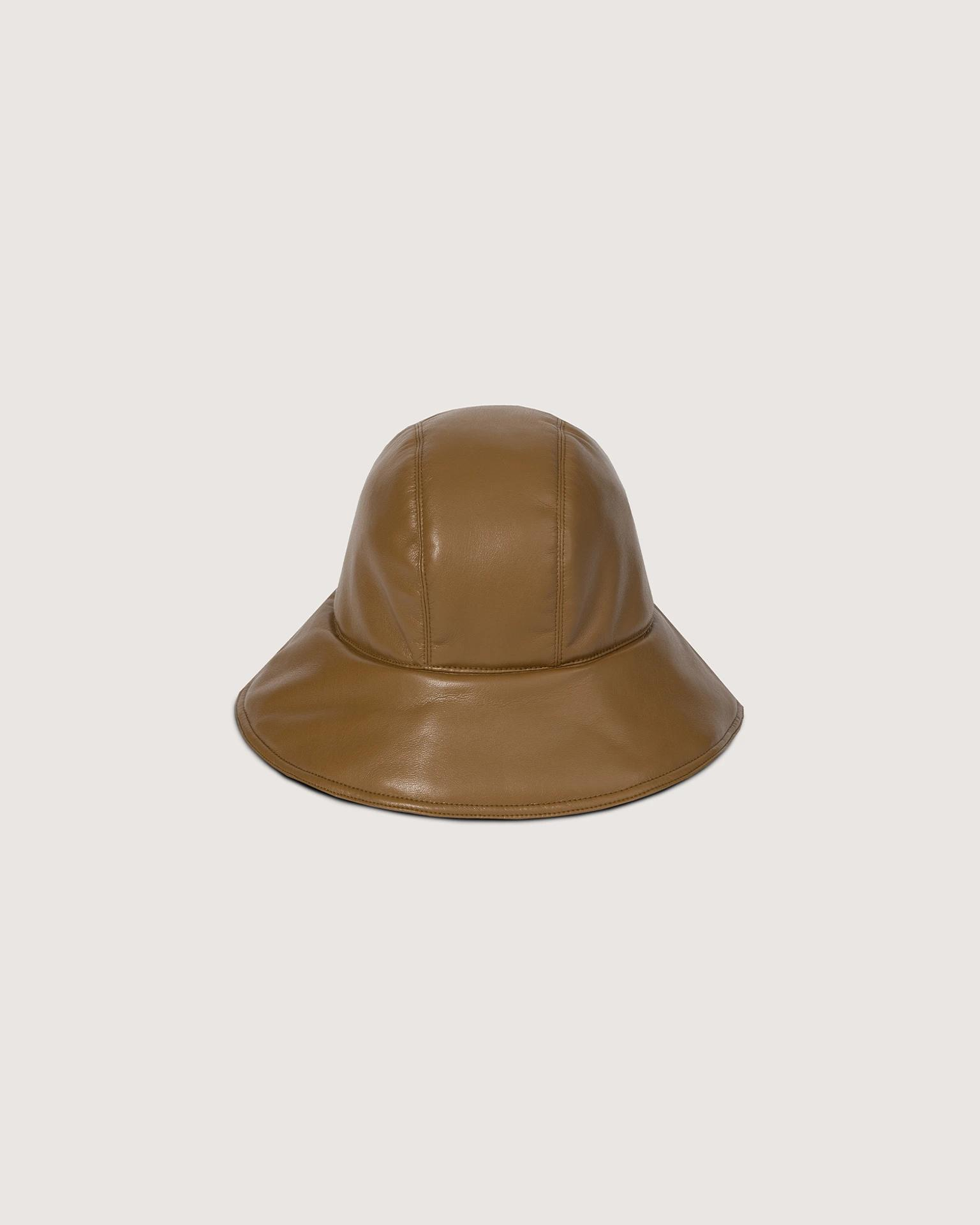 CAMERON - Vegan leather cloche hat - Curry
