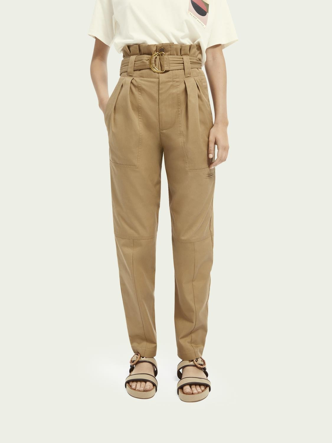 Paperbag high-rise cargo trousers