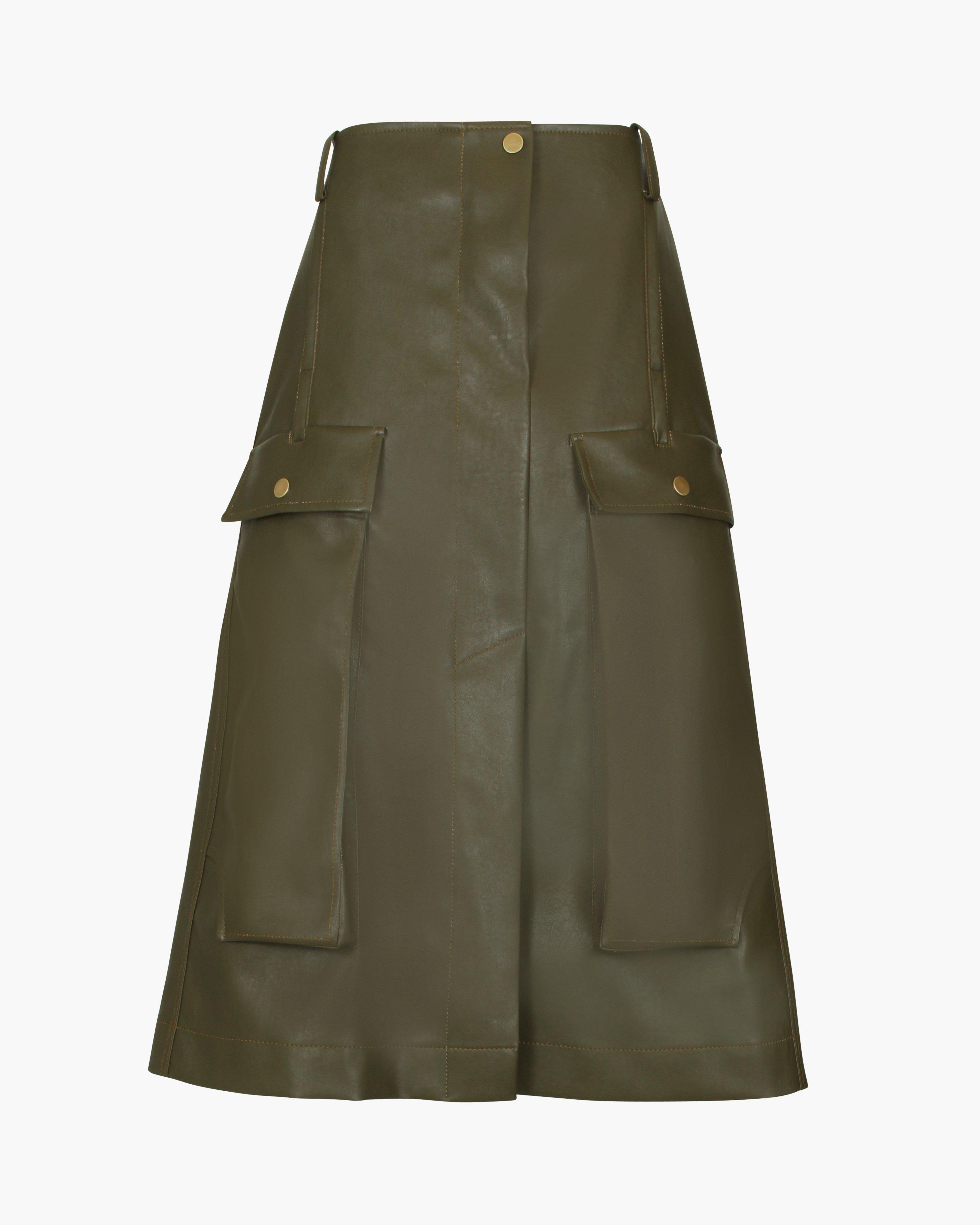 Donna Skirt Faux Leather Marsh Green 2