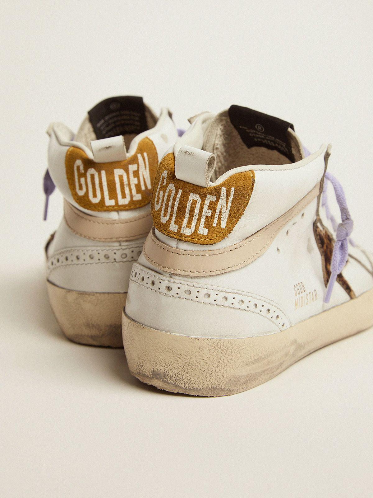 Mid Star sneakers with leopard-print pony skin star and light orange suede heel tab 3