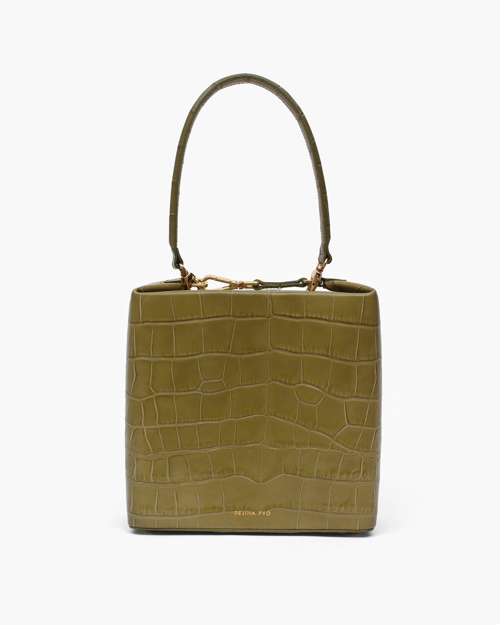 Lucie Bag Leather Croc Emboss Olive