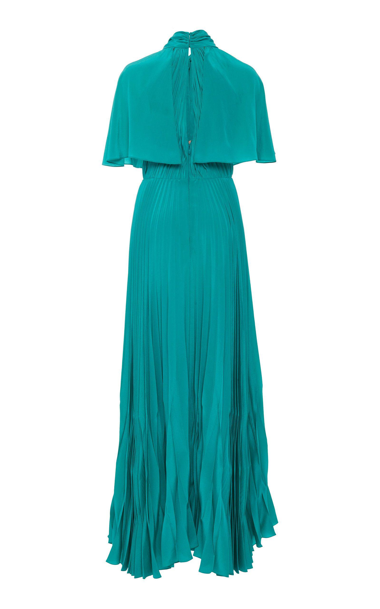 PLEATED CAPE MAXI GOWN 1