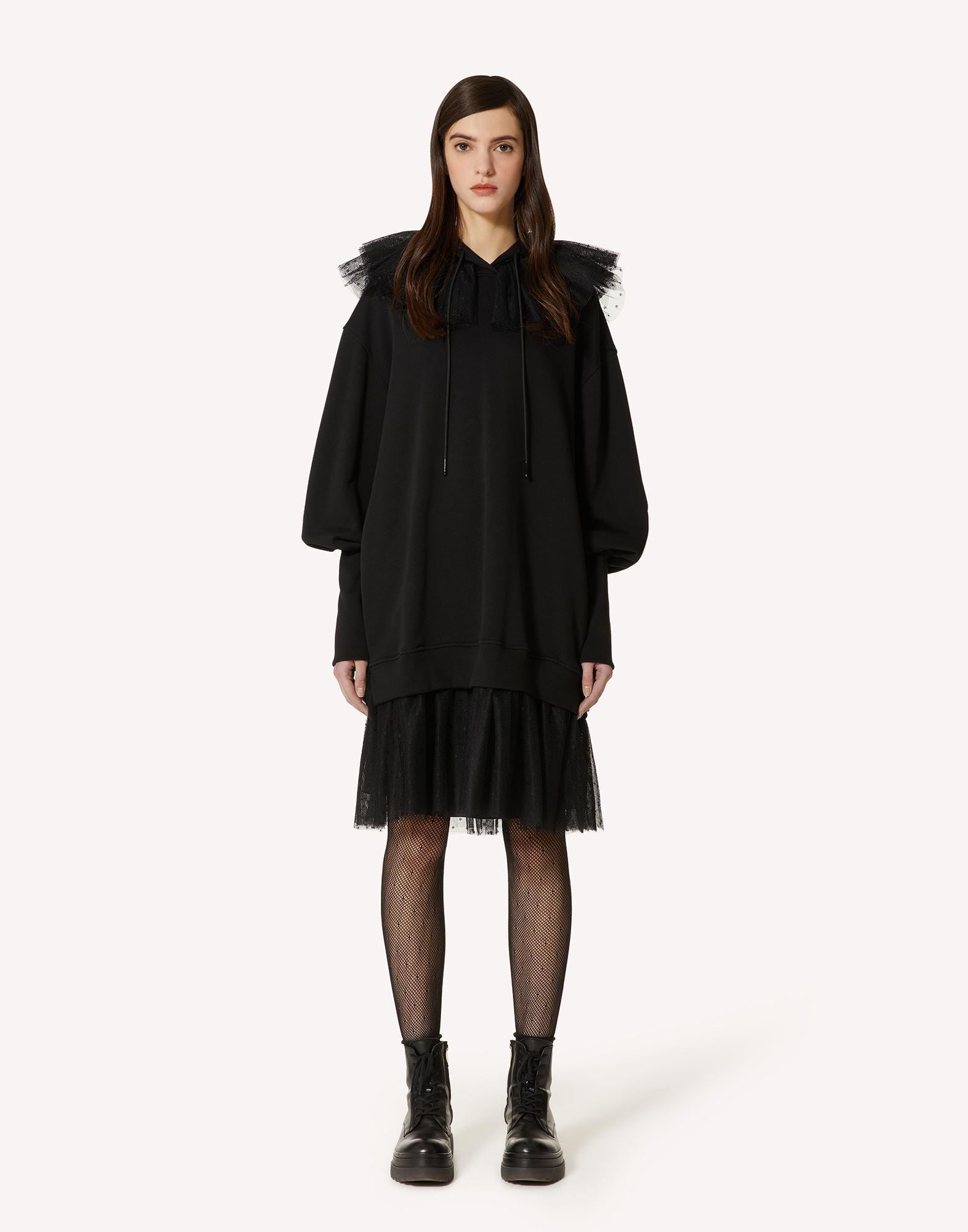 """""""THE BLACK TAG"""". - SWEATSHIRT DRESS WITH POINT D'ESPRIT TULLE"""