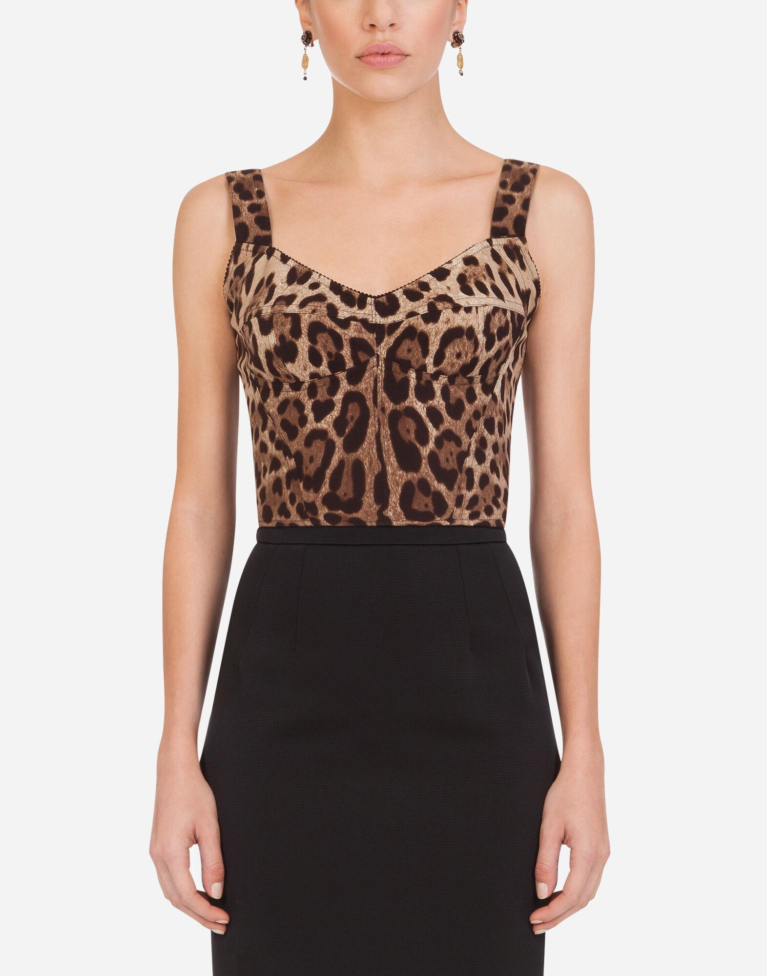 Leopard-print charmeuse bustier top