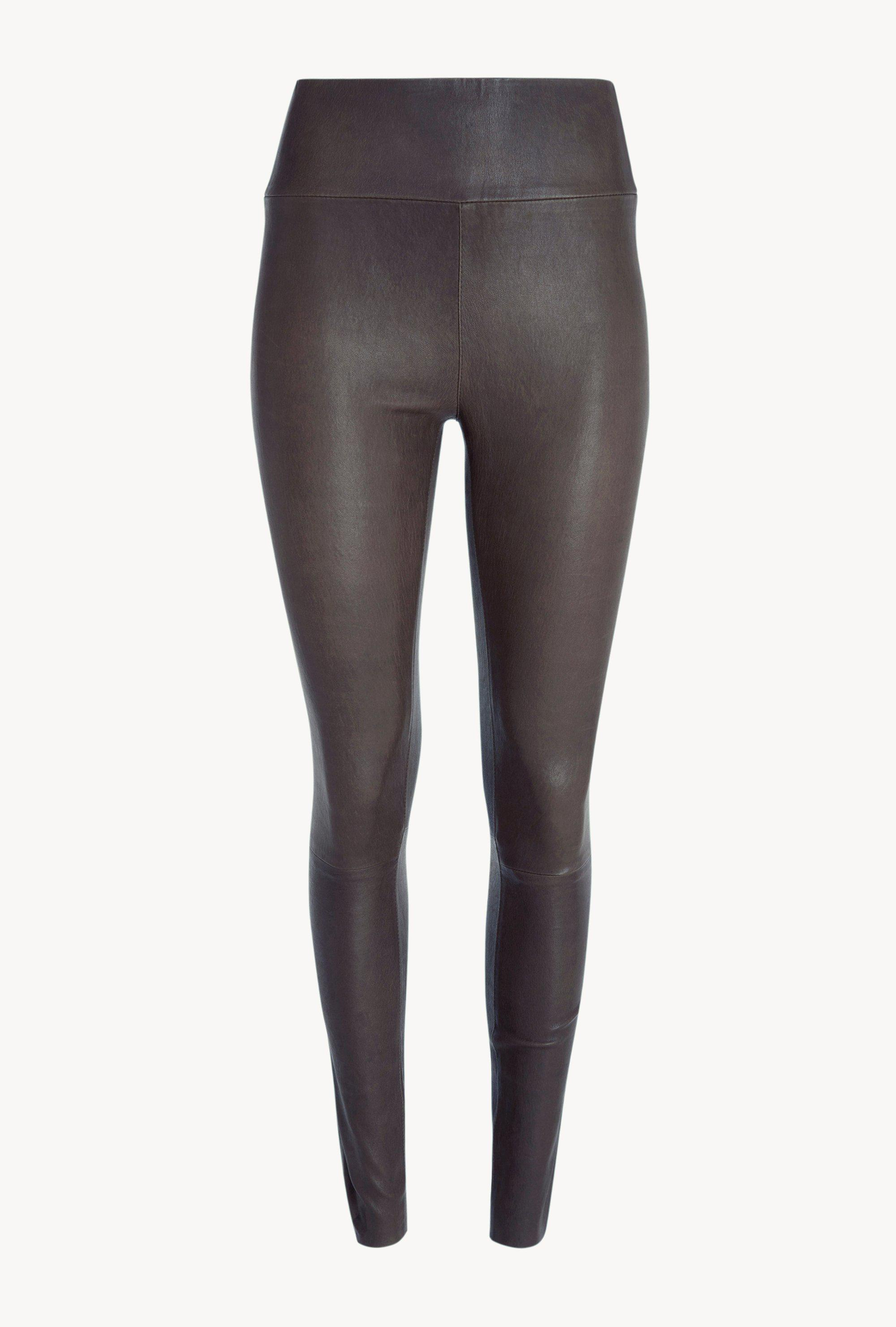 Anthracite Leather Ankle Legging