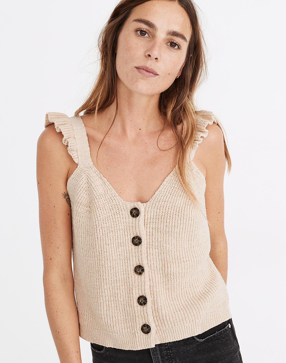 Ruffle-Strap Button-Front Sweater Tank