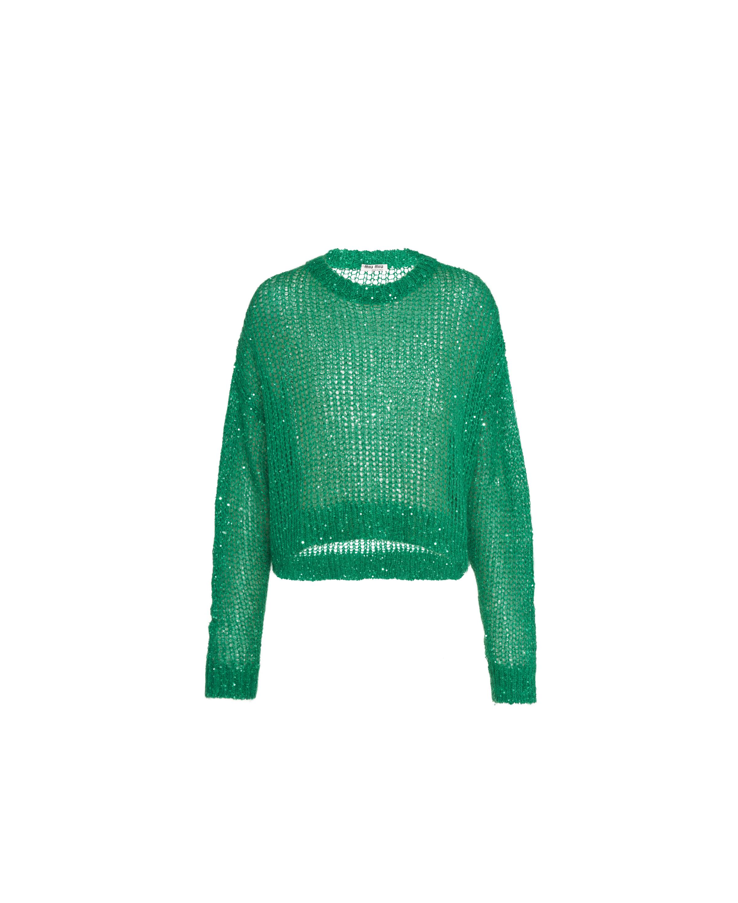 Sequined Mohair Pullover Women Lawn Green