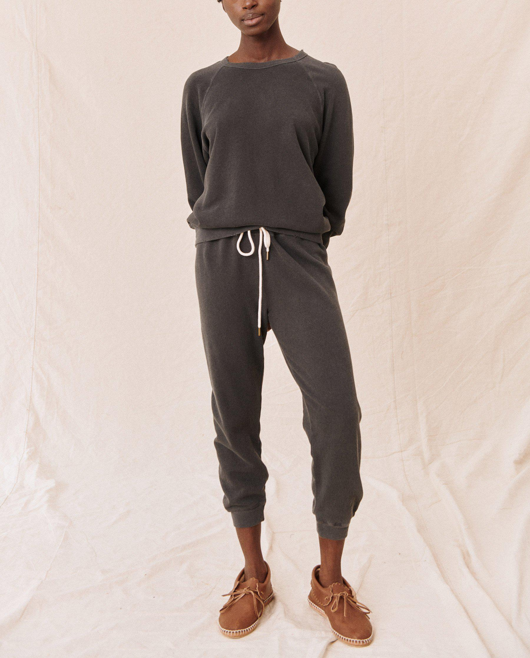 The Cropped Sweatpant. Solid -- Washed Black 2