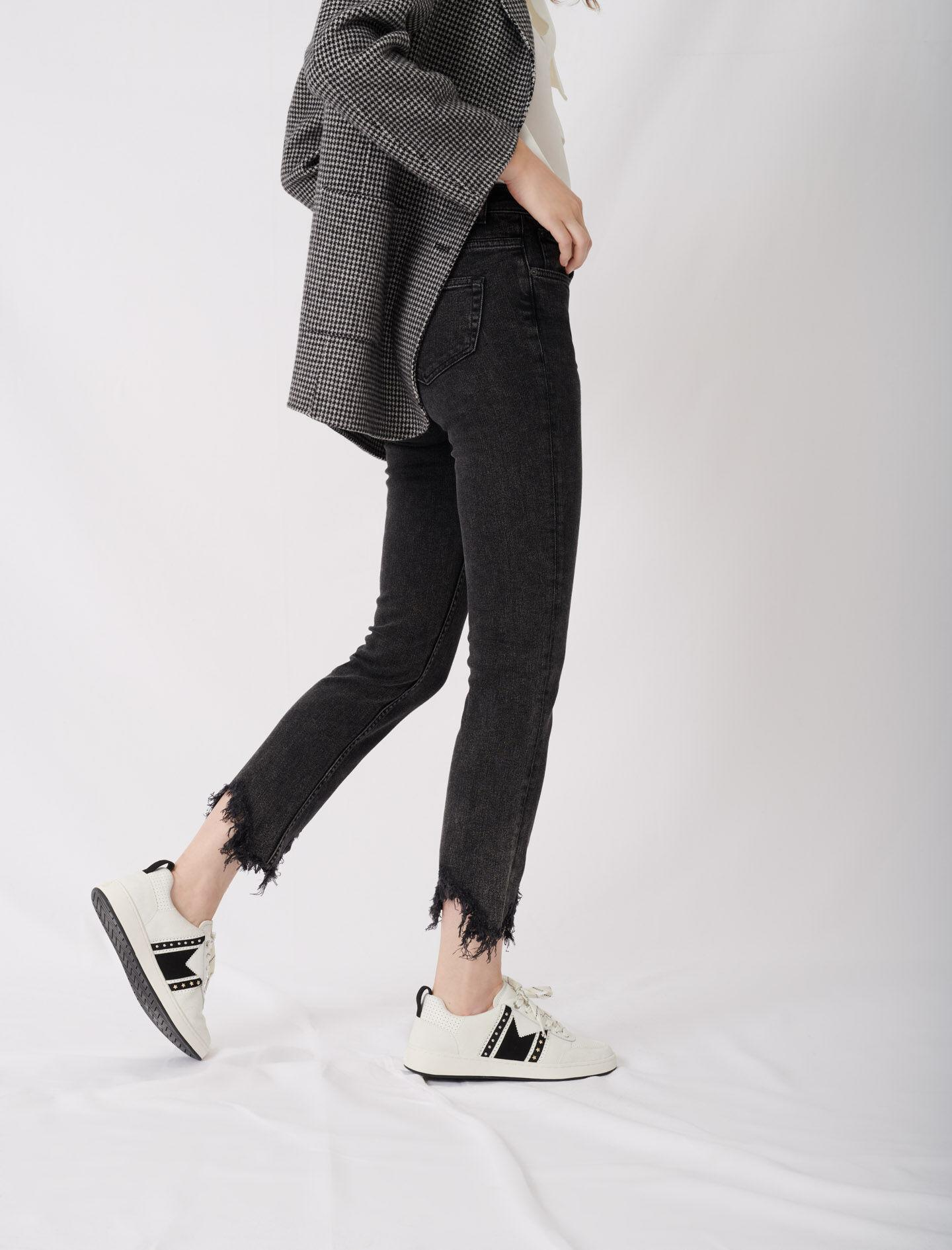 BLACK AND WHITE LEATHER SNEAKERS 4