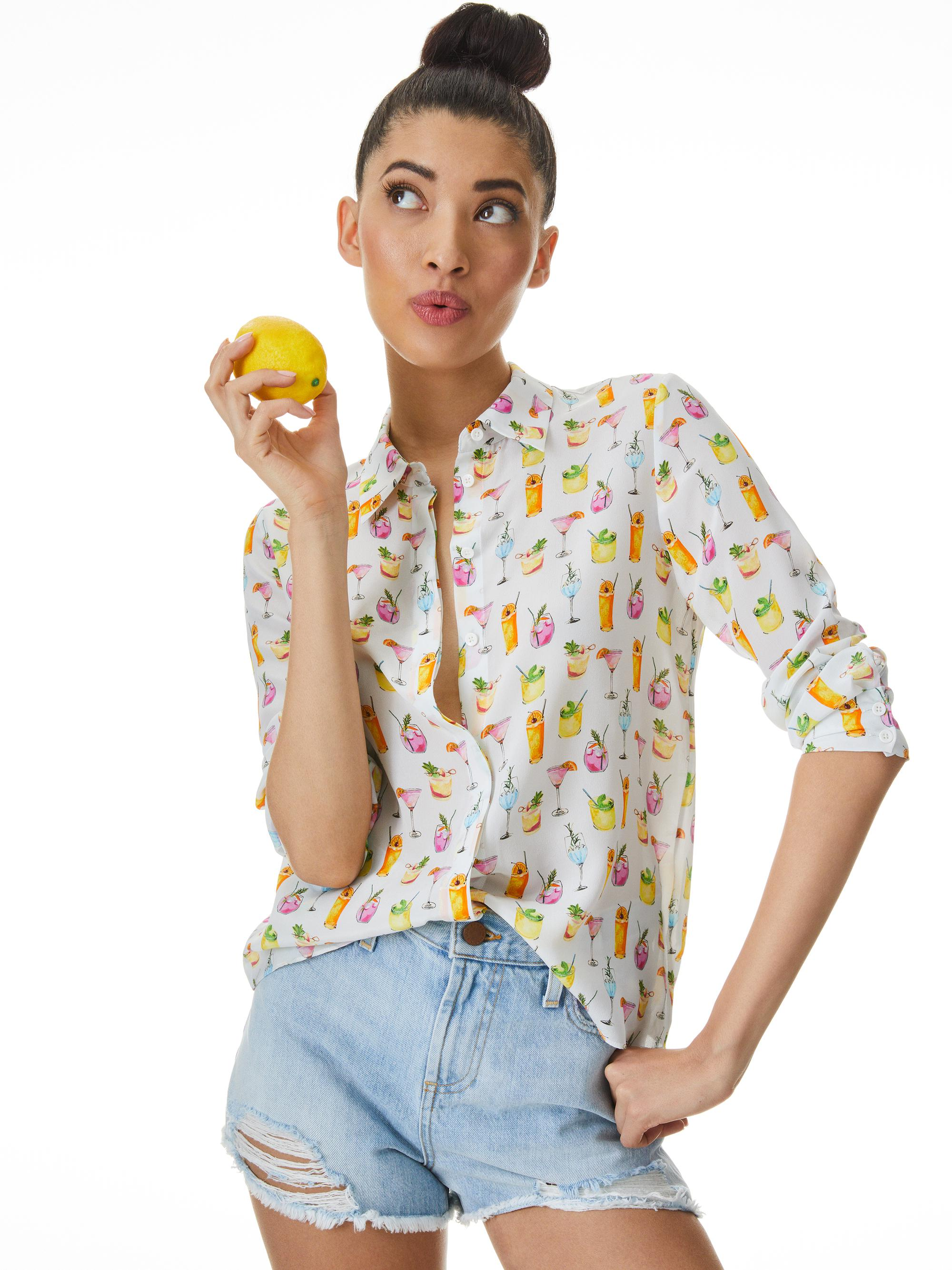 WILLA COCKTAIL PRINT PLACKET TOP 0