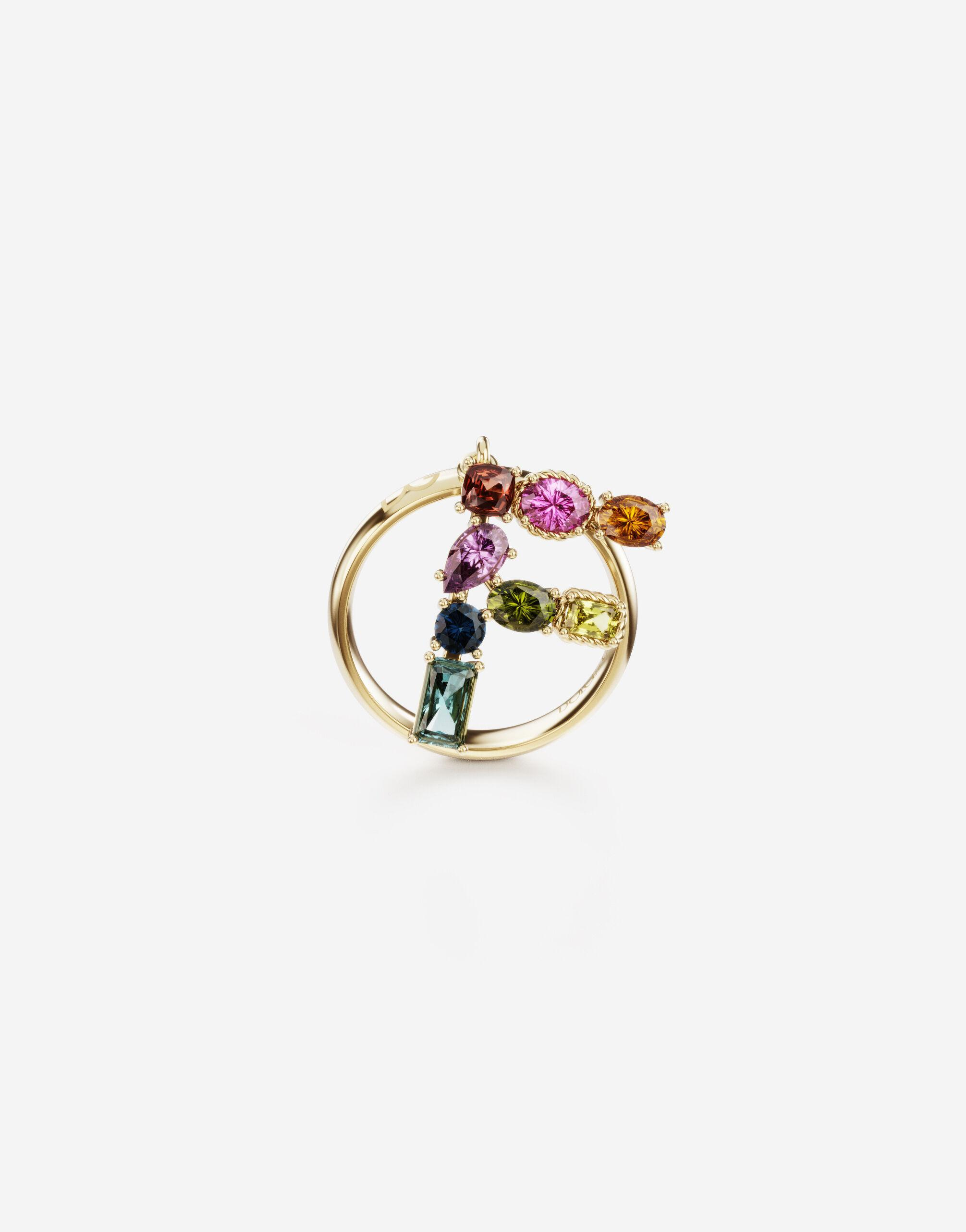 Rainbow alphabet F ring in yellow gold with multicolor fine gems