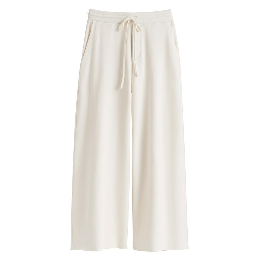 Women's French Terry Wide-Leg Cropped Pant in Ecru | Size:
