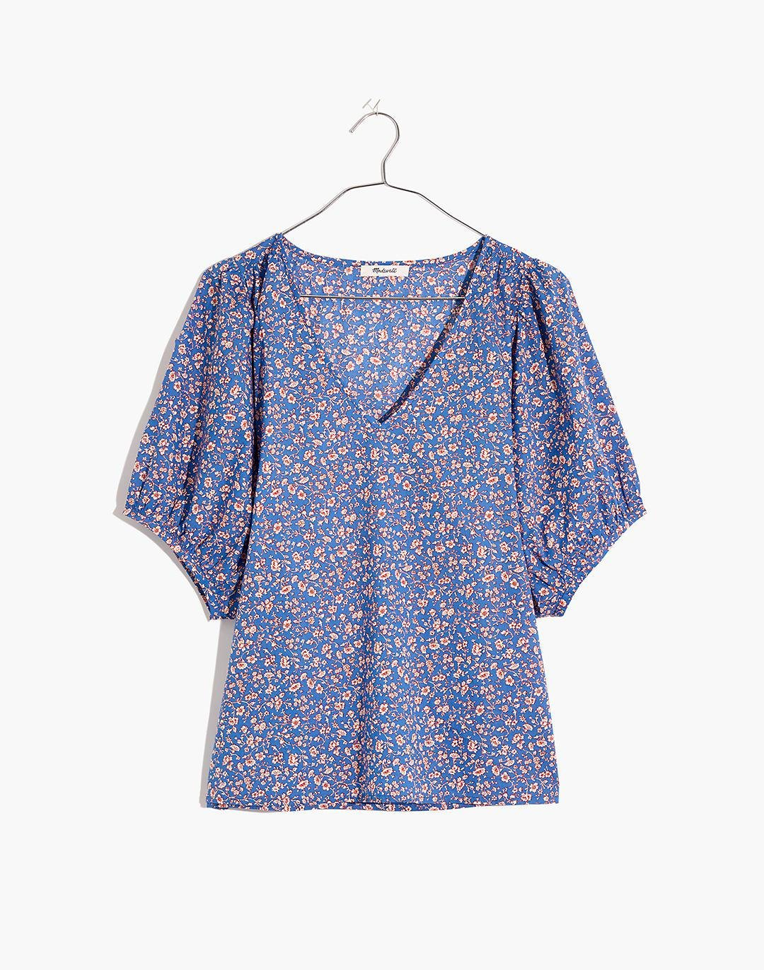 V-Neck Puff-Sleeve Top in Summer Vines 3