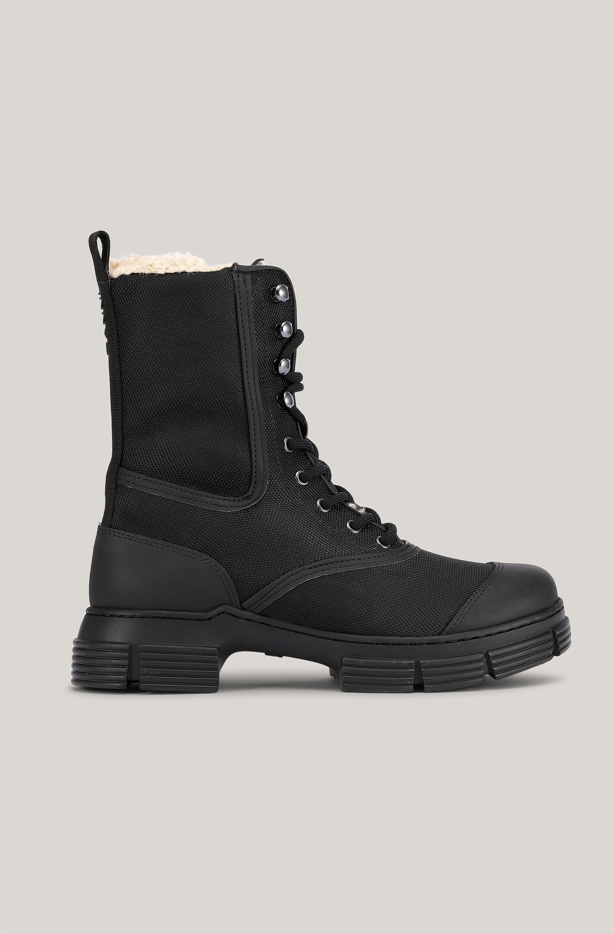 Faux-Sheepskin Lined Lace-Up Boots