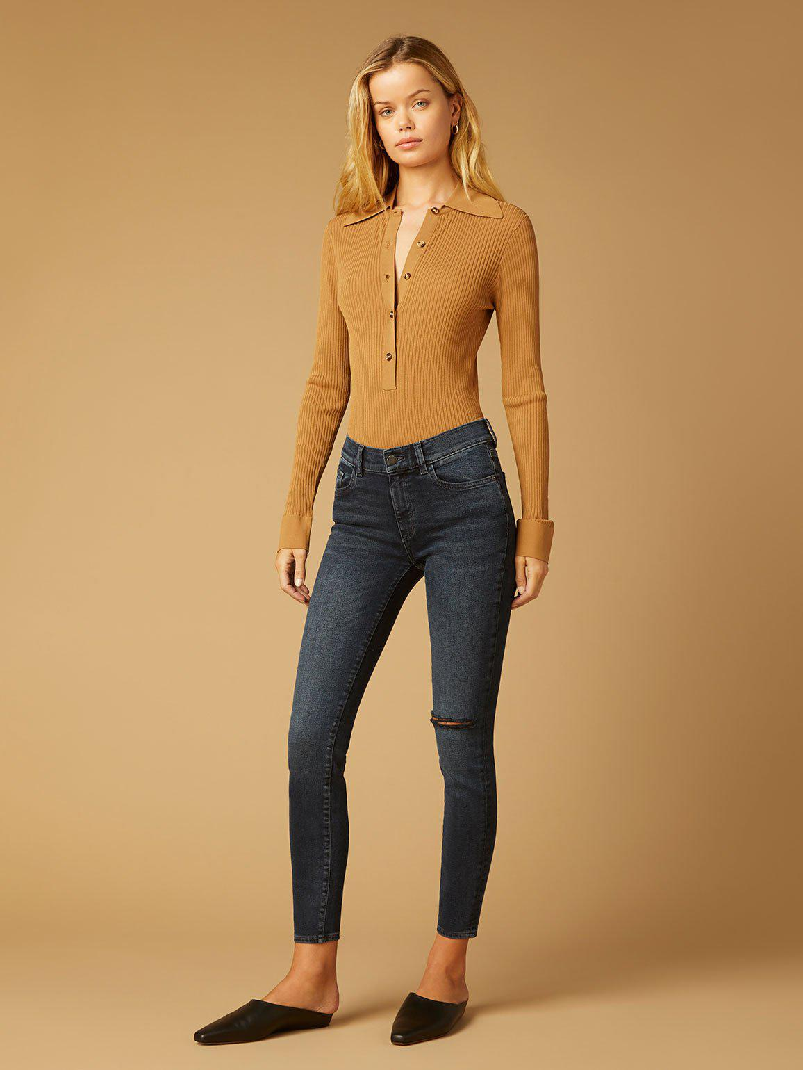 Florence Skinny Mid Rise Instasculpt Ankle | Dark Creek Busted