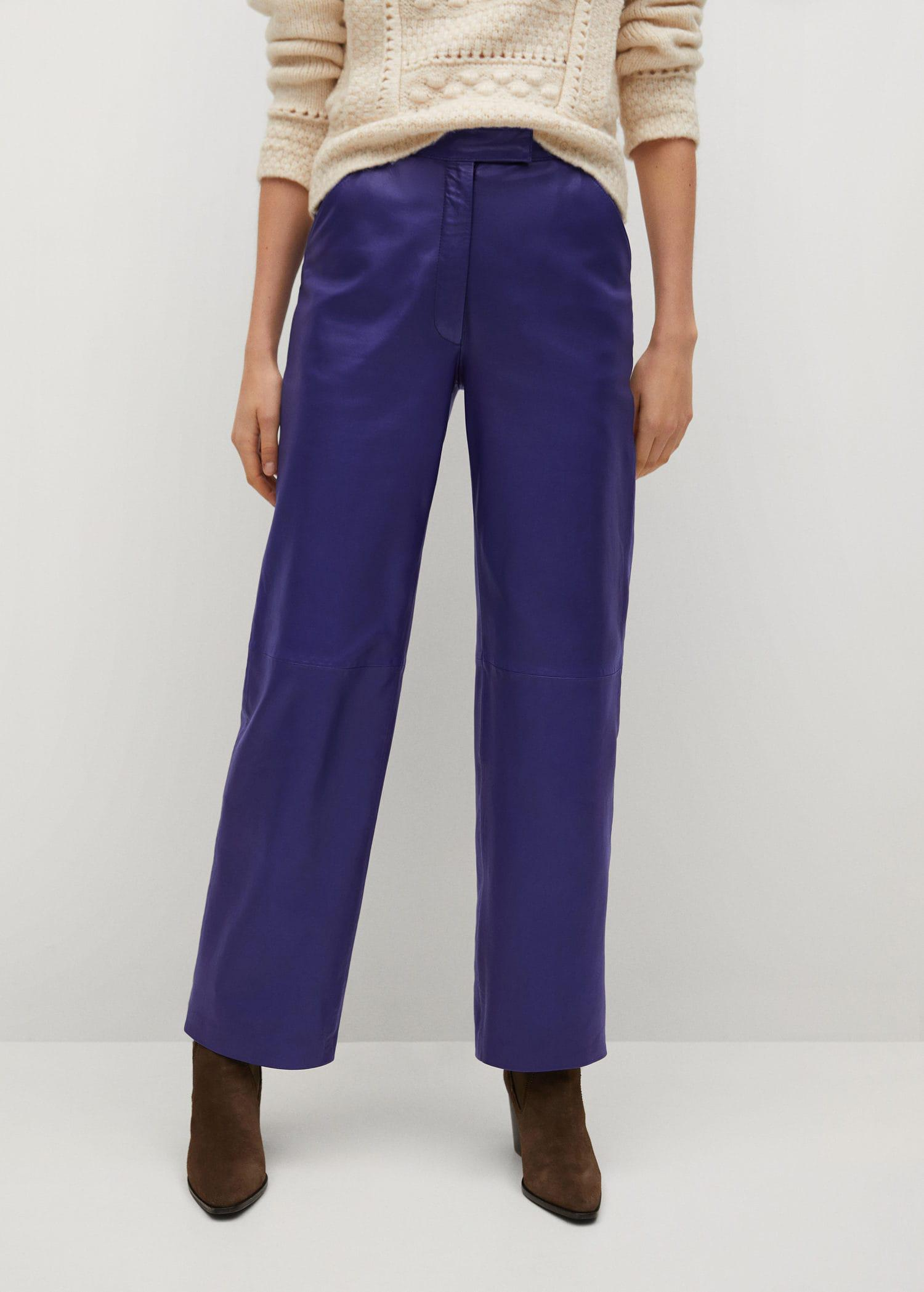 Straight-fit leather pants
