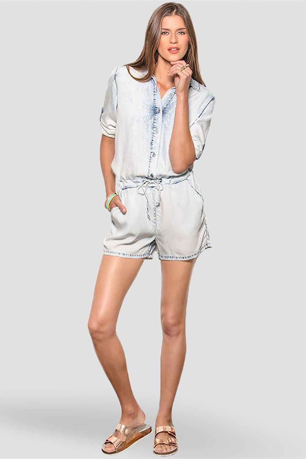 Peggy Bleached Out Tencel Long Sleeved Romper