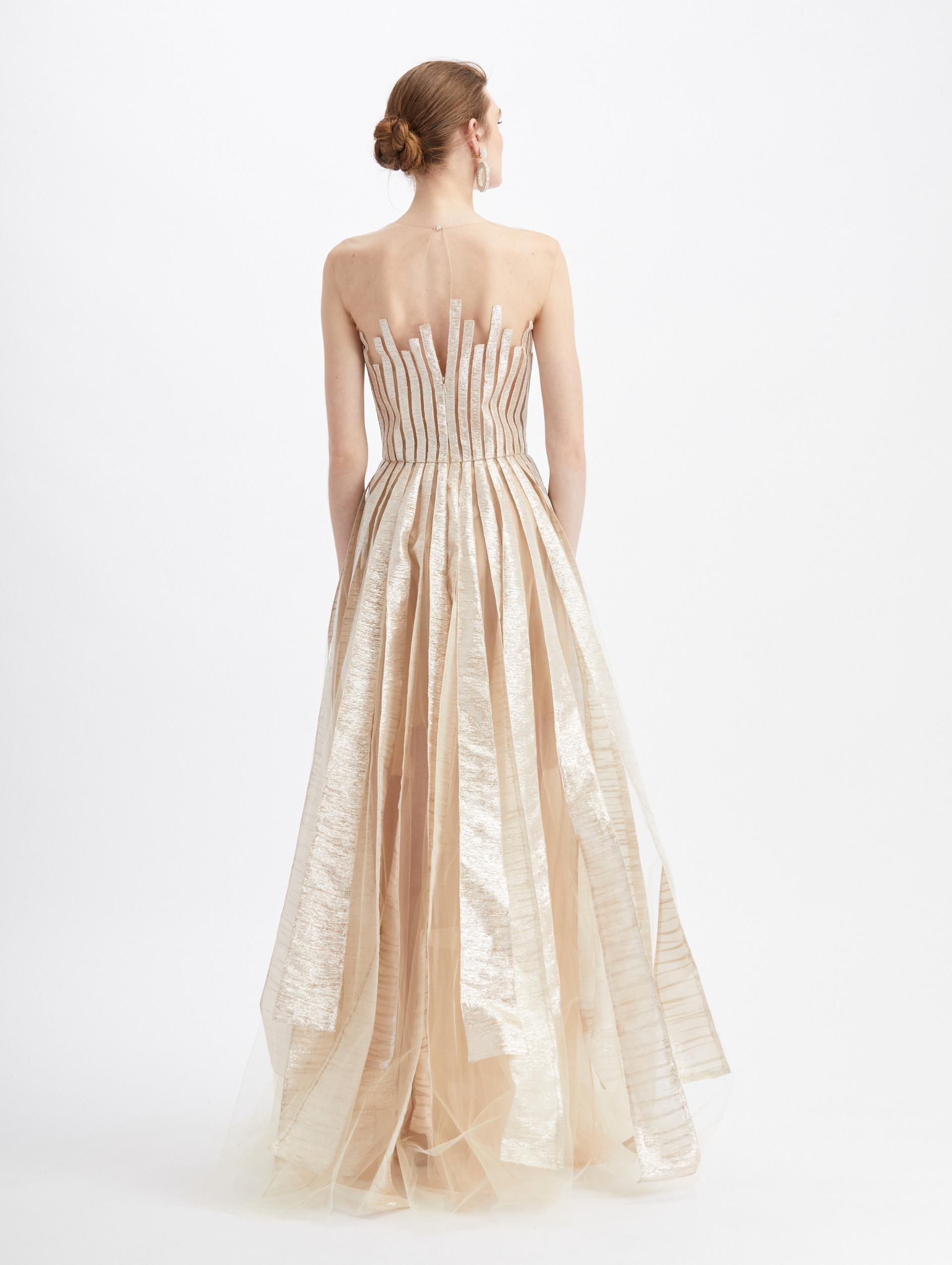 TULLE SLEEVELESS SHEER NECK EMBROIDERED GOWN 1