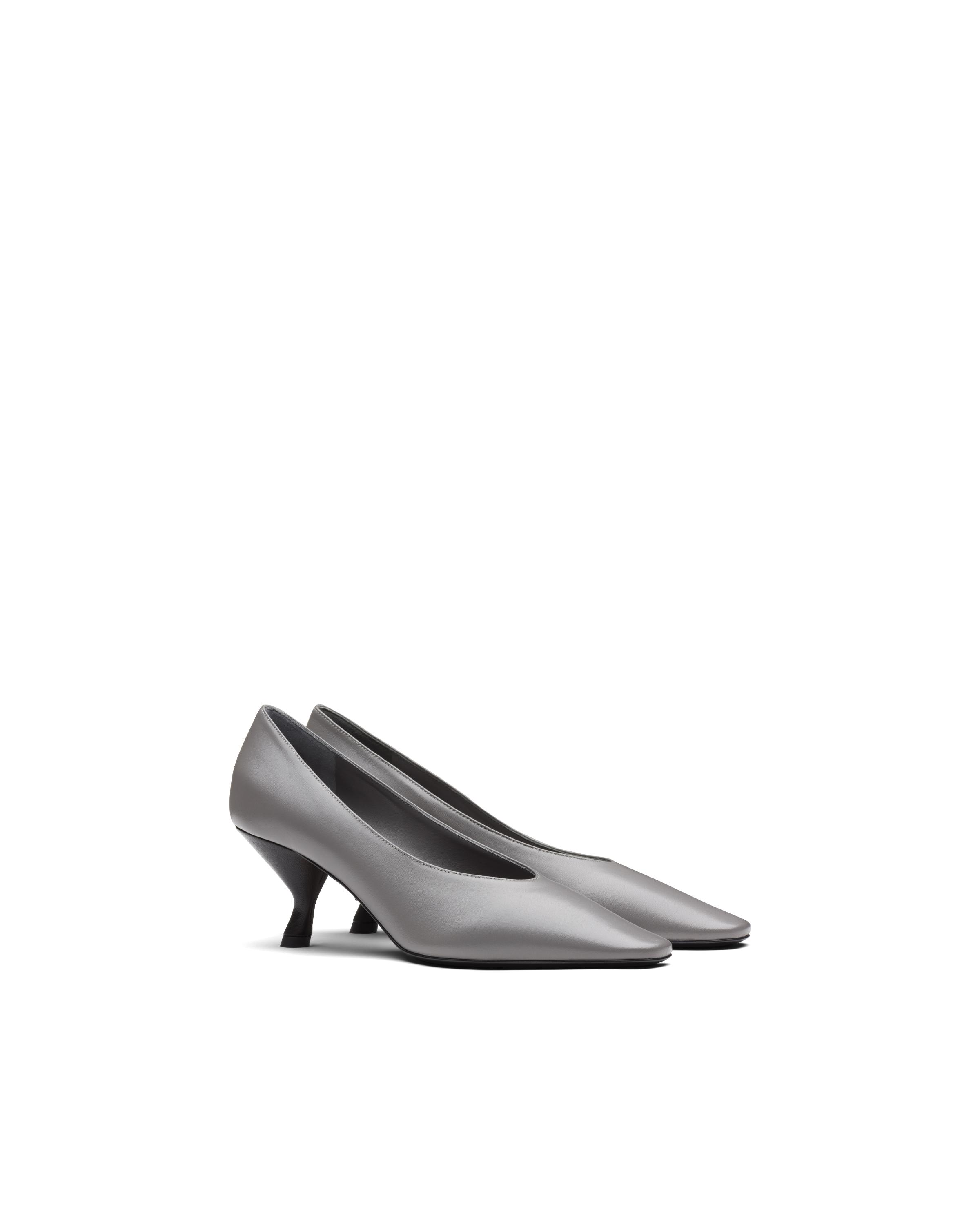 Pointy Toe Nappa Leather Pump With Medium Heel Women Marble Gray 5