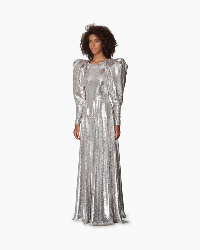 Puff Sleeve Sequin Gown