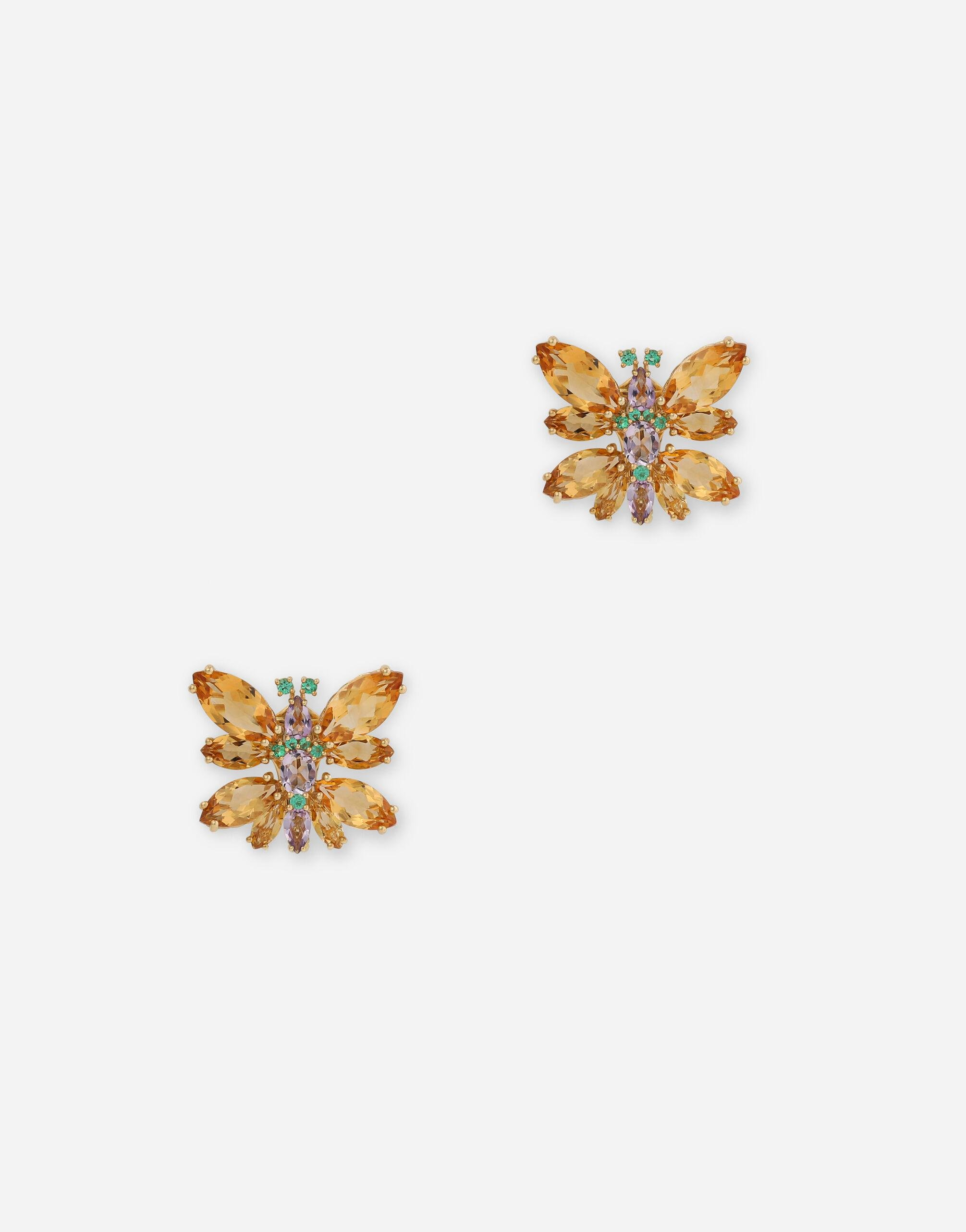 Spring earrings in yellow 18kt gold with citrine butterflies