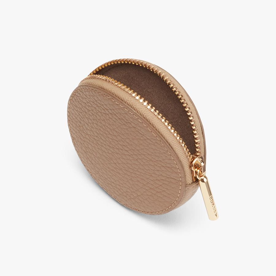 Women's Leather Coin Pouch in Cappuccino | Pebbled Leather by Cuyana 1