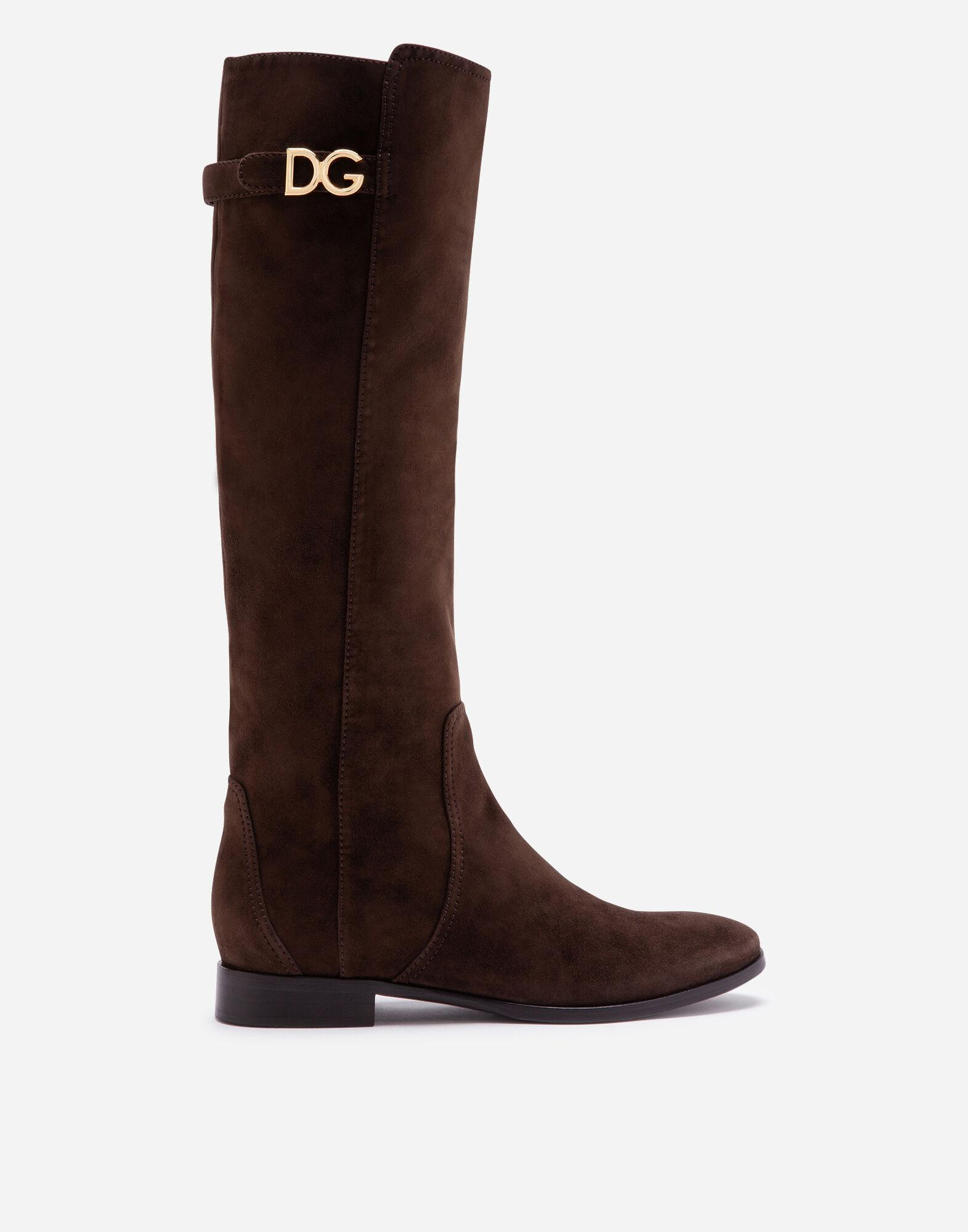 Suede boots with DG logo