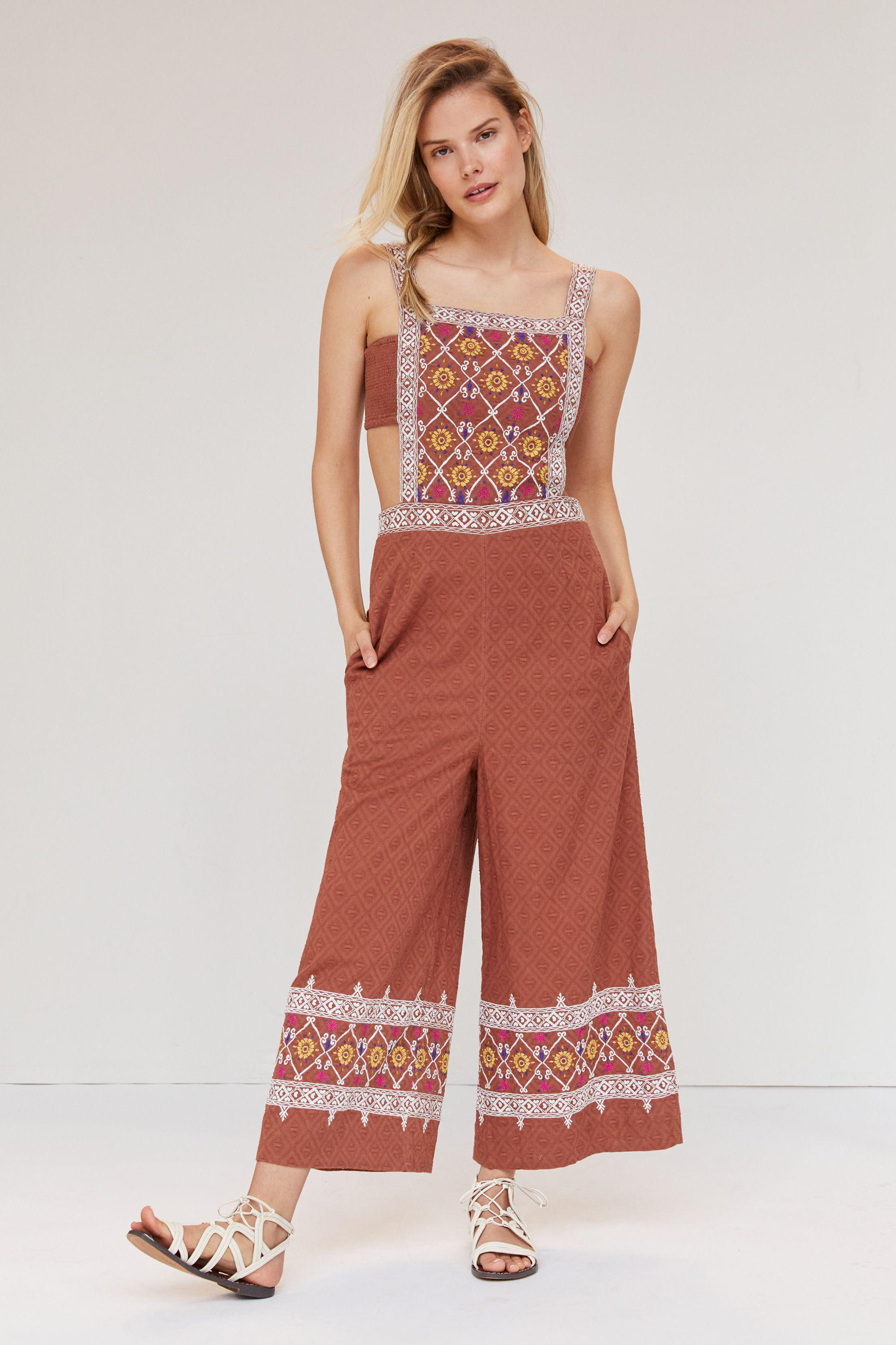 Embroidered Wide-Leg Jumpsuit