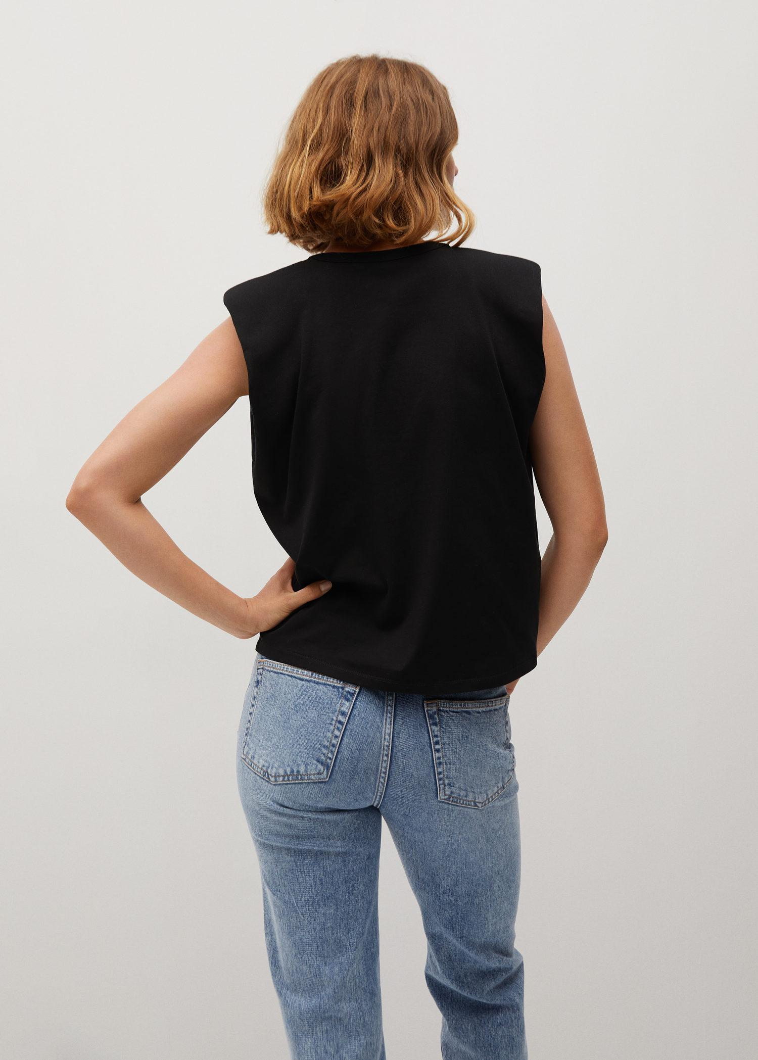 Organic cotton t-shirt with shoulder pads 2