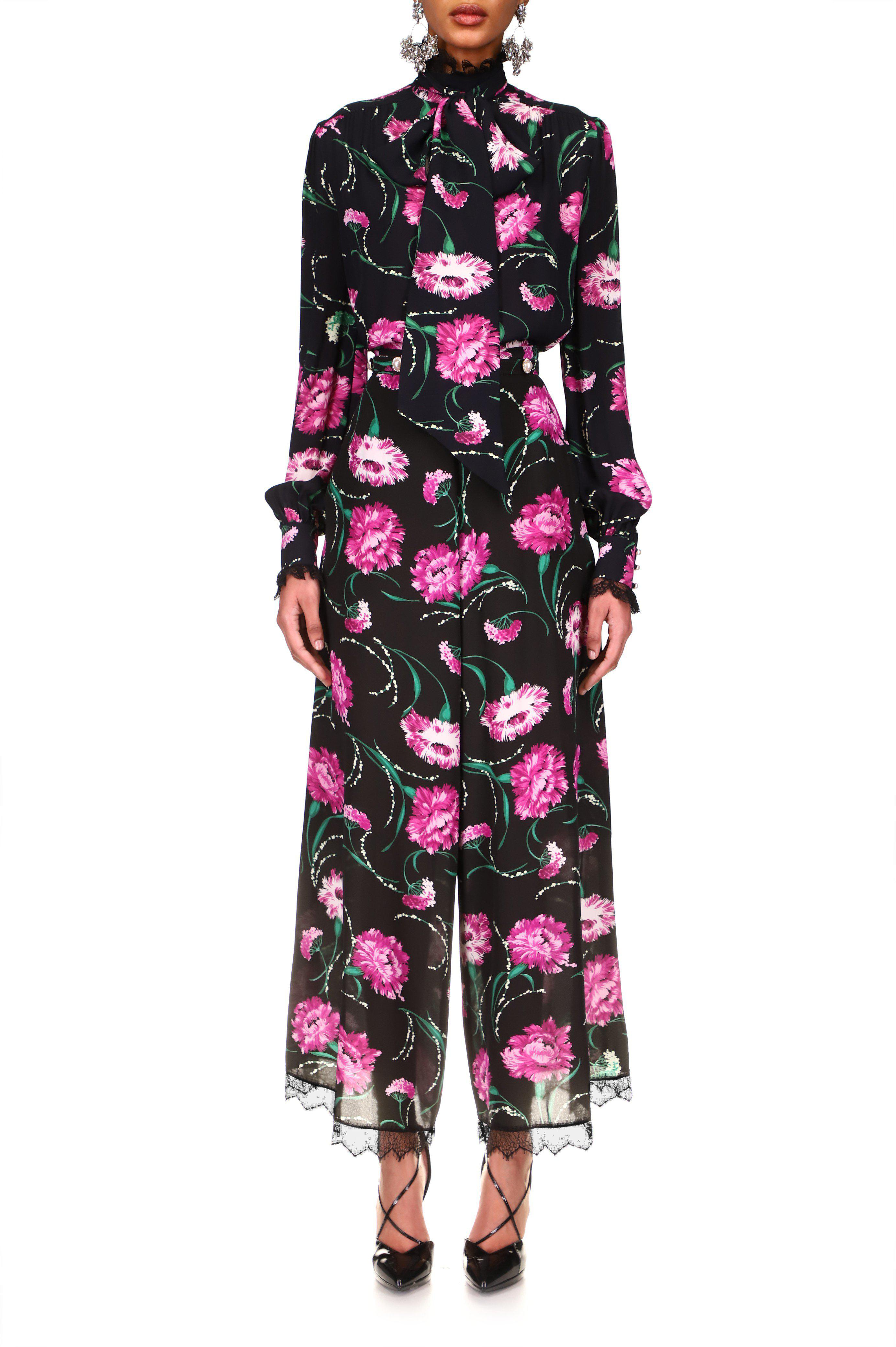 BLACK AND FUCHSIA FLORAL SILK PANT WITH LACE DETAIL