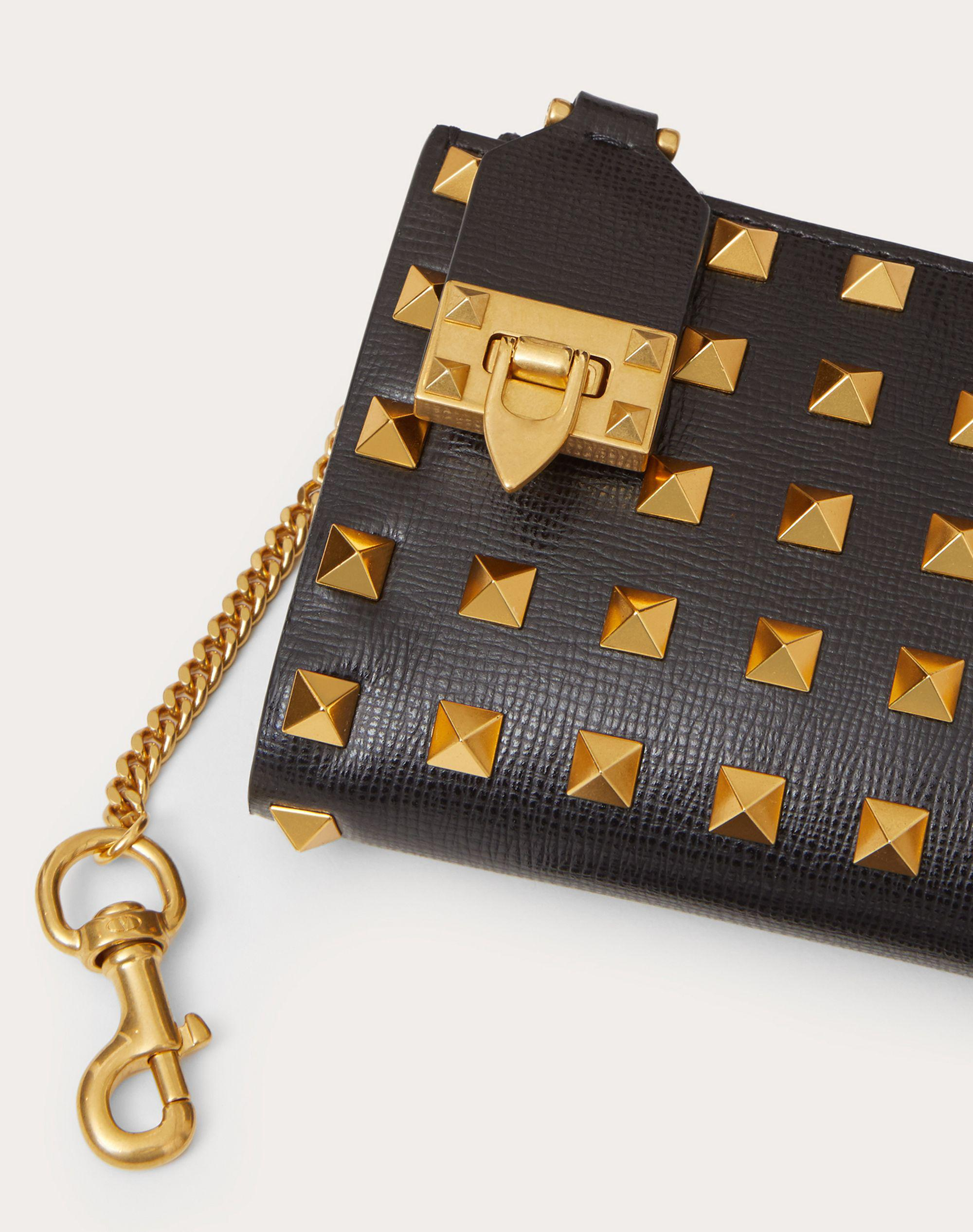 VALENTINO GARAVANI ROCKSTUD COIN PURSE AND CARDHOLDER IN GRAINY CALFSKIN LEATHER WITH ALL-OVER STUDS 1