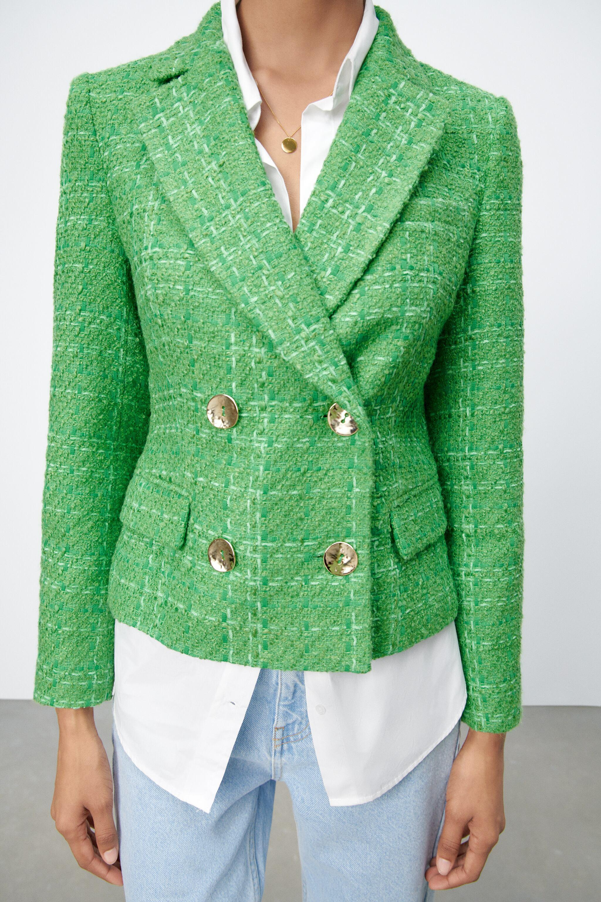 DOUBLE BREASTED TEXTURED WEAVE JACKET 2