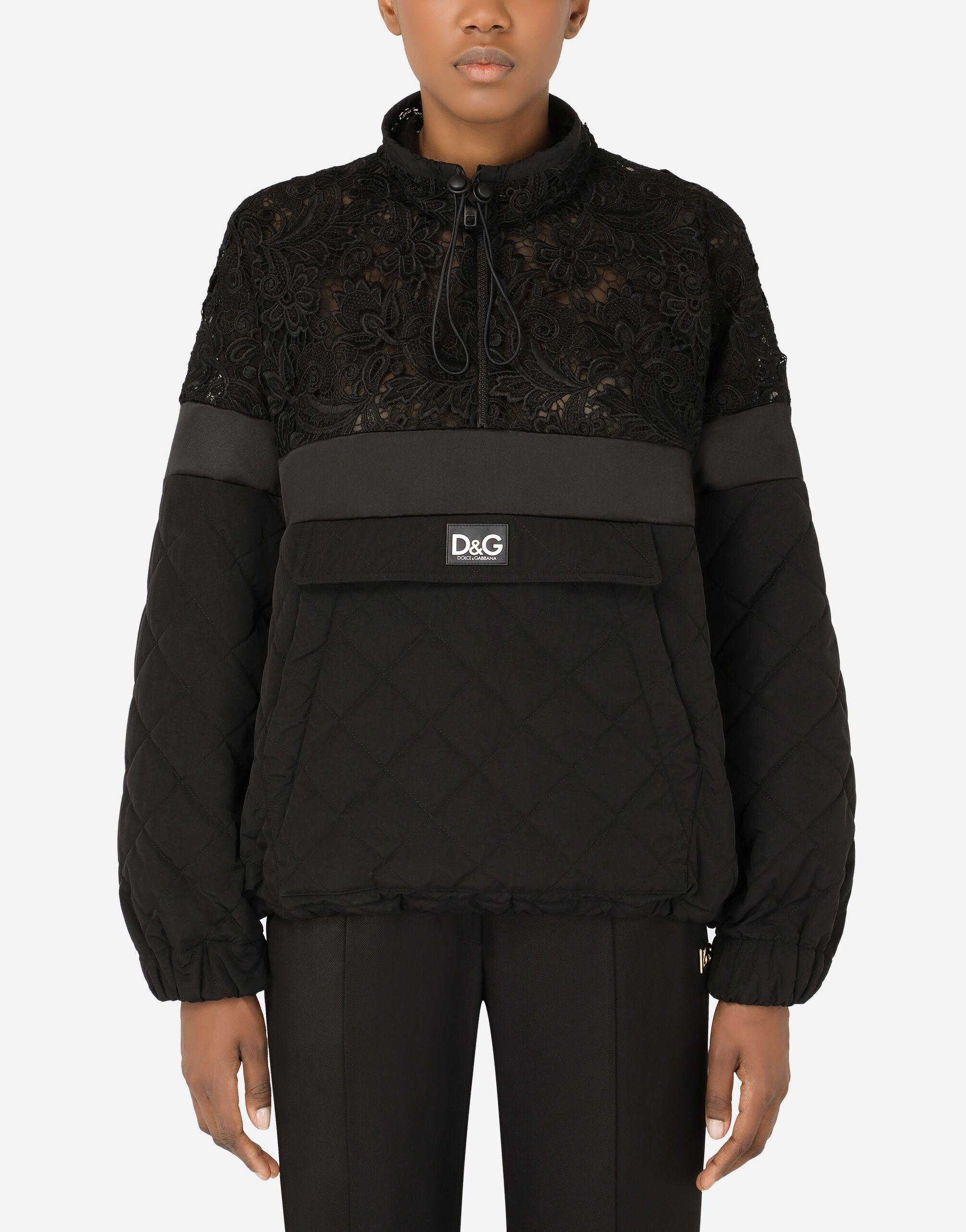 Quilted nylon and macramé lace anorak